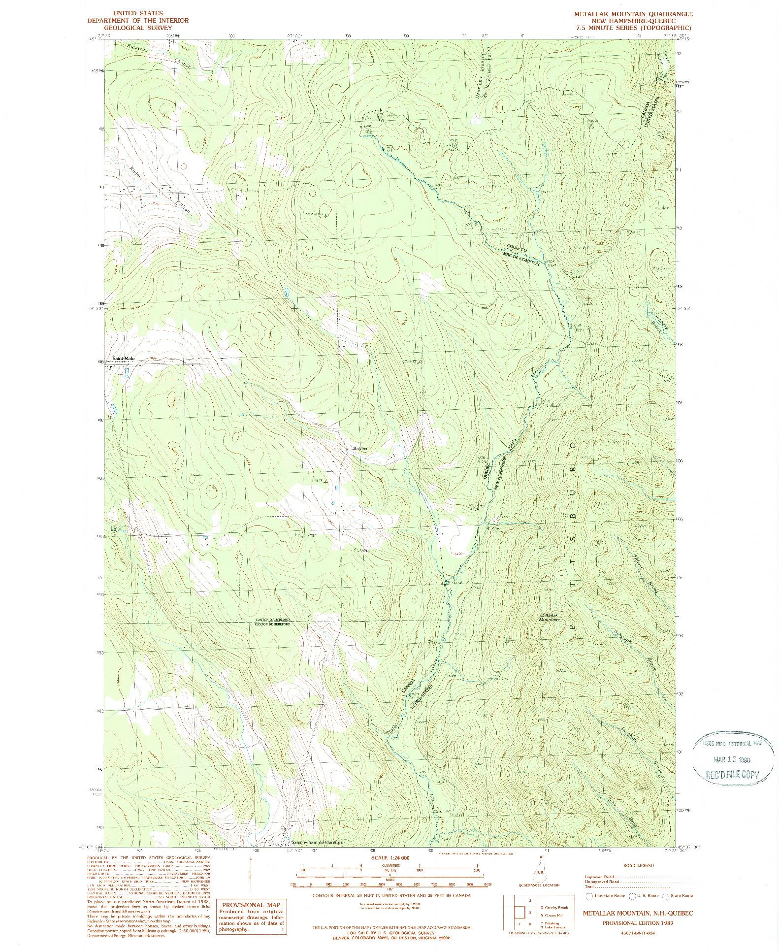 USGS 1:24000-SCALE QUADRANGLE FOR METALLAK MOUNTAIN, NH 1989