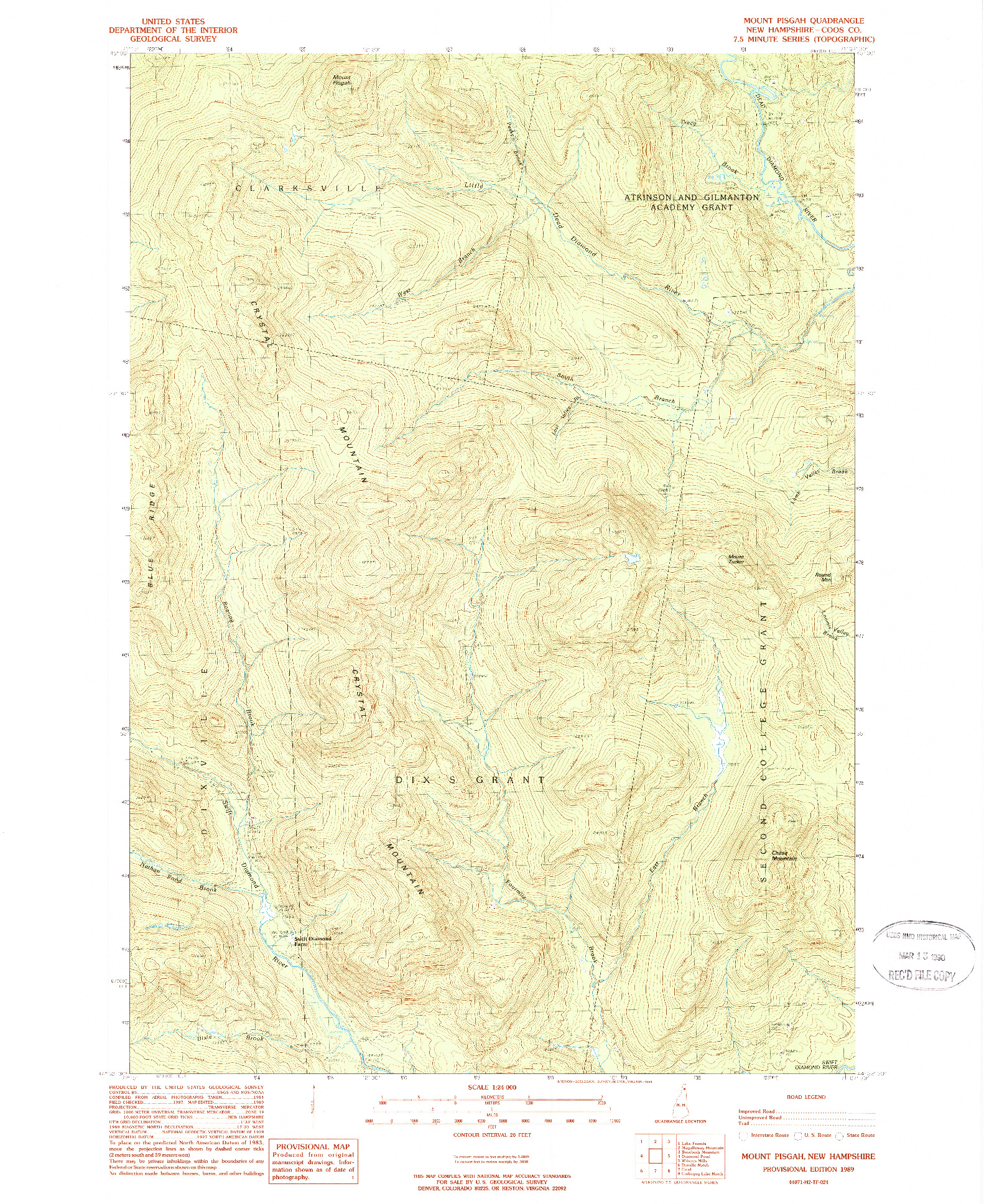 USGS 1:24000-SCALE QUADRANGLE FOR MOUNT PISGAH, NH 1989