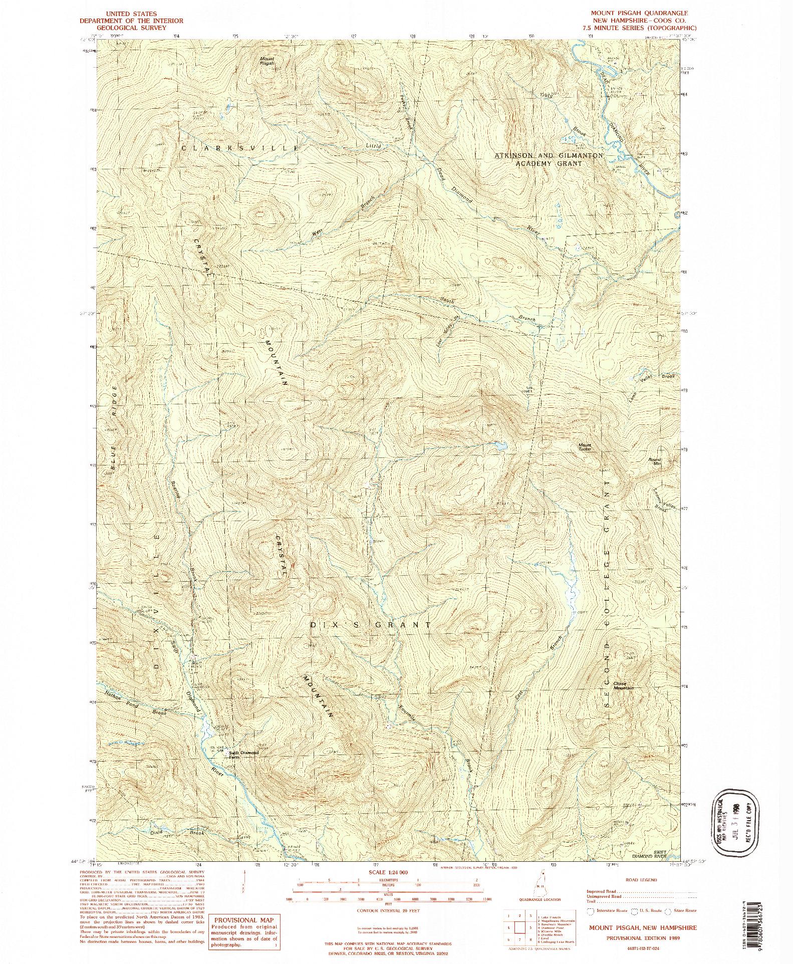 USGS 1:24000-SCALE QUADRANGLE FOR MT. PISGAH, NH 1989