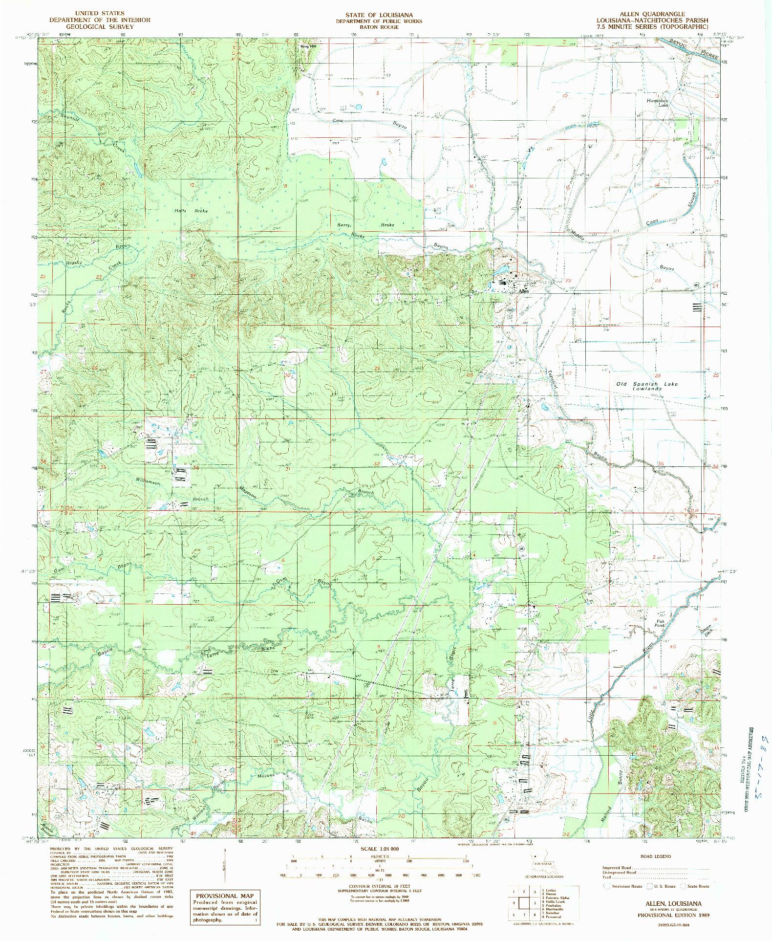 USGS 1:24000-SCALE QUADRANGLE FOR ALLEN, LA 1989