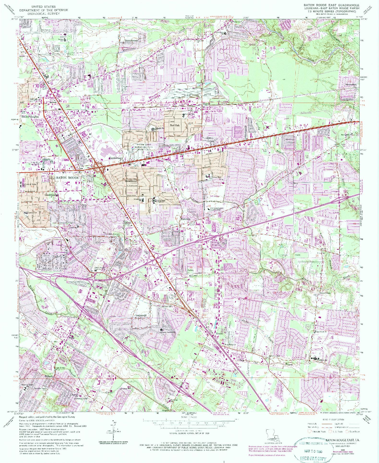 USGS 1:24000-SCALE QUADRANGLE FOR BATON ROUGE EAST, LA 1963