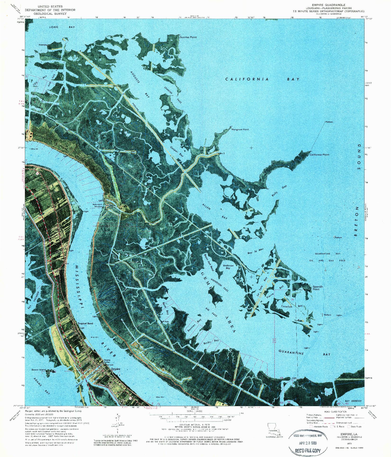 USGS 1:24000-SCALE QUADRANGLE FOR EMPIRE, LA 1973