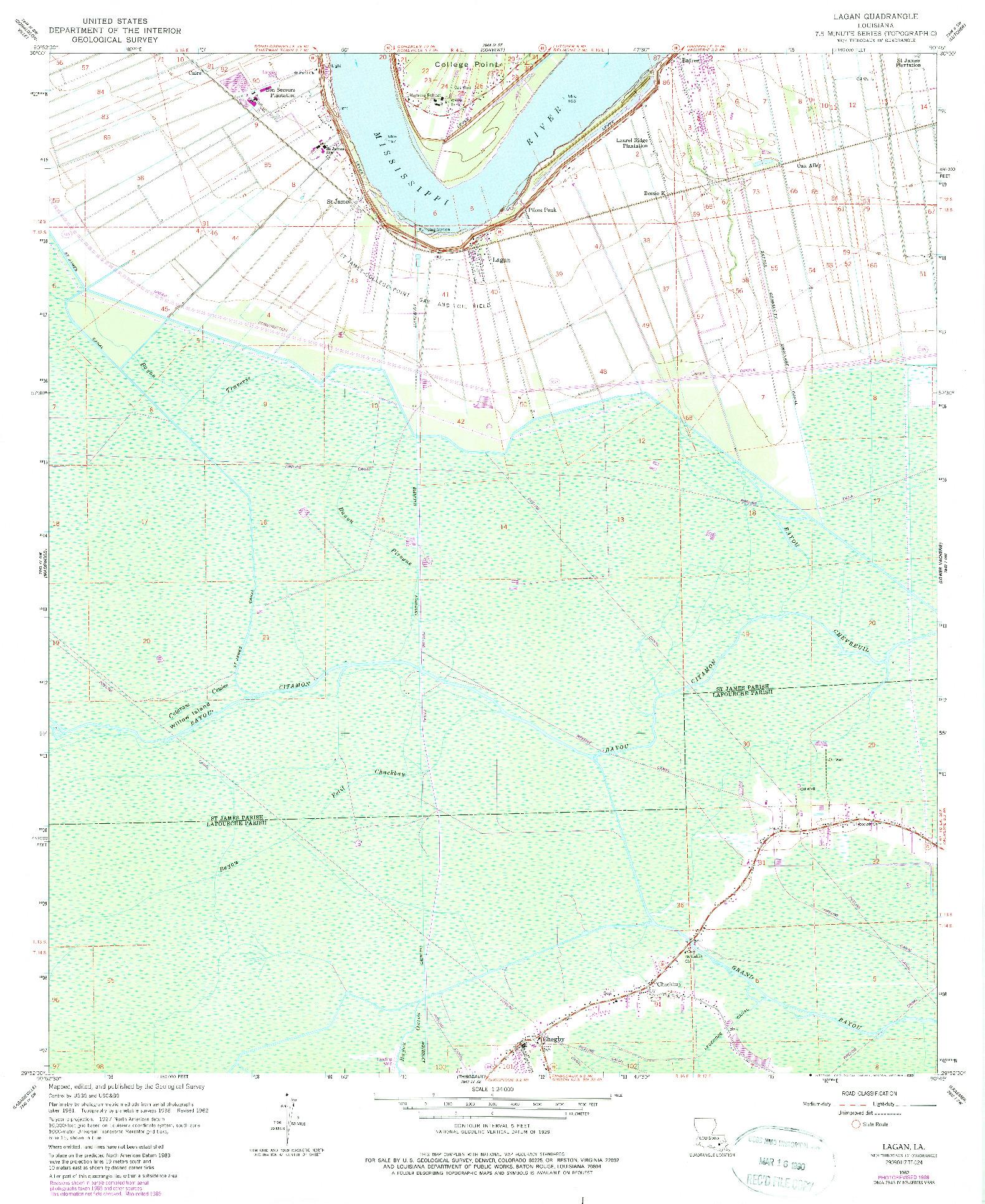 USGS 1:24000-SCALE QUADRANGLE FOR LAGAN, LA 1962