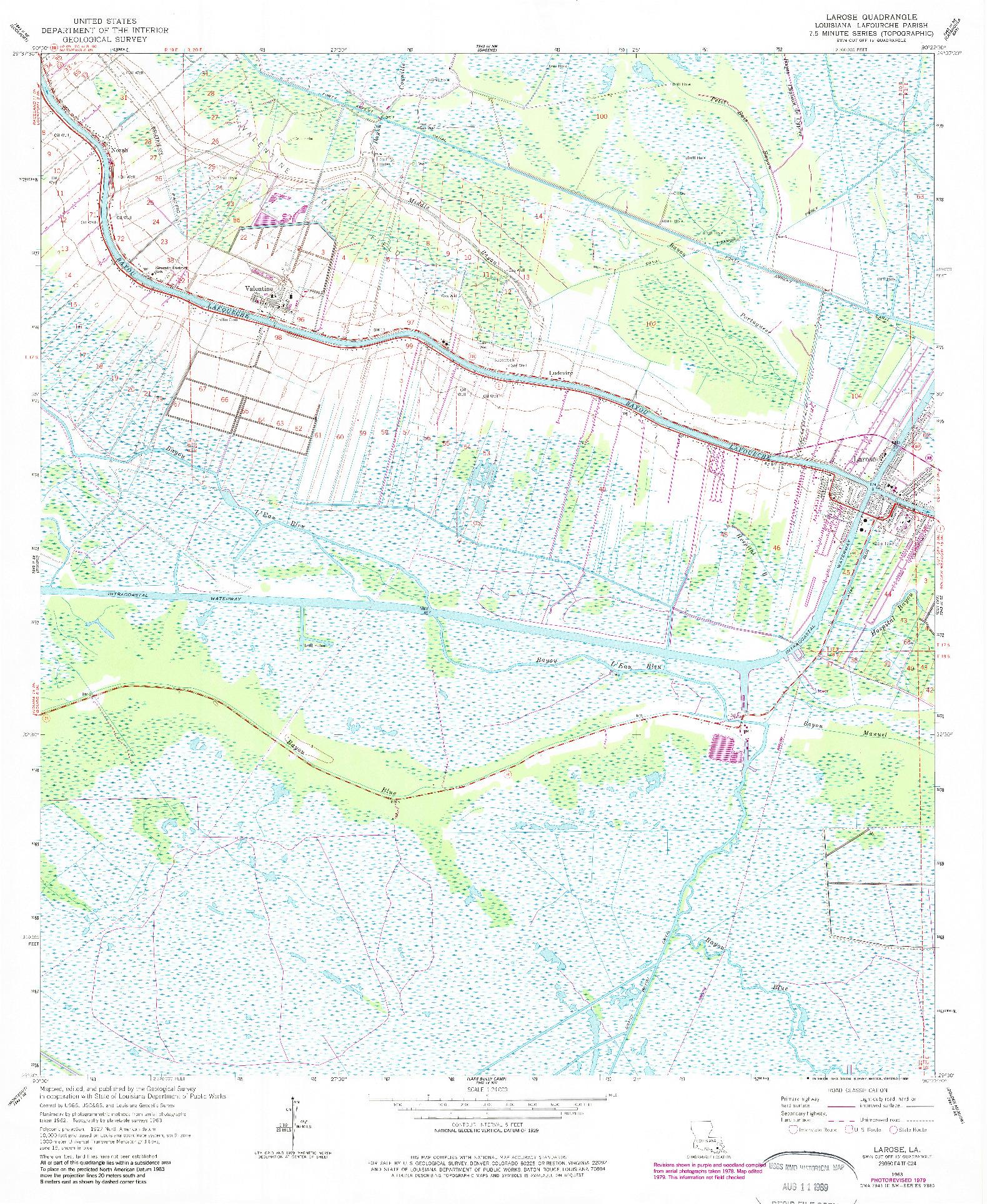 USGS 1:24000-SCALE QUADRANGLE FOR LAROSE, LA 1963