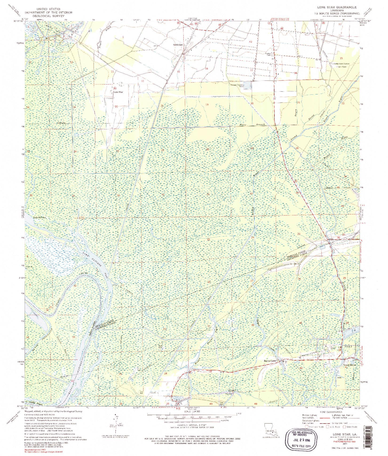USGS 1:24000-SCALE QUADRANGLE FOR LONE STAR, LA 1974