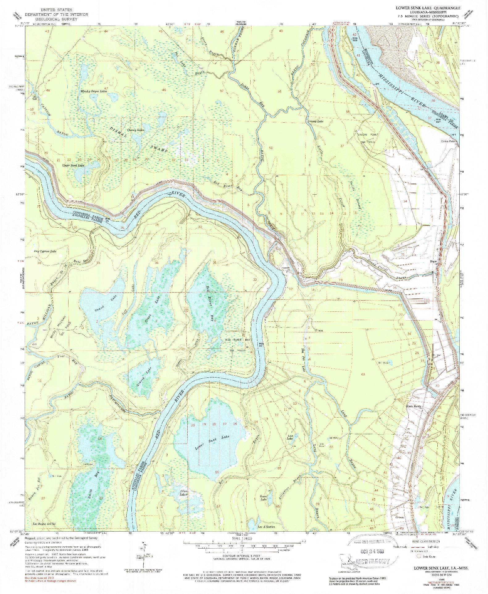 USGS 1:24000-SCALE QUADRANGLE FOR LOWER SUNK LAKE, LA 1965