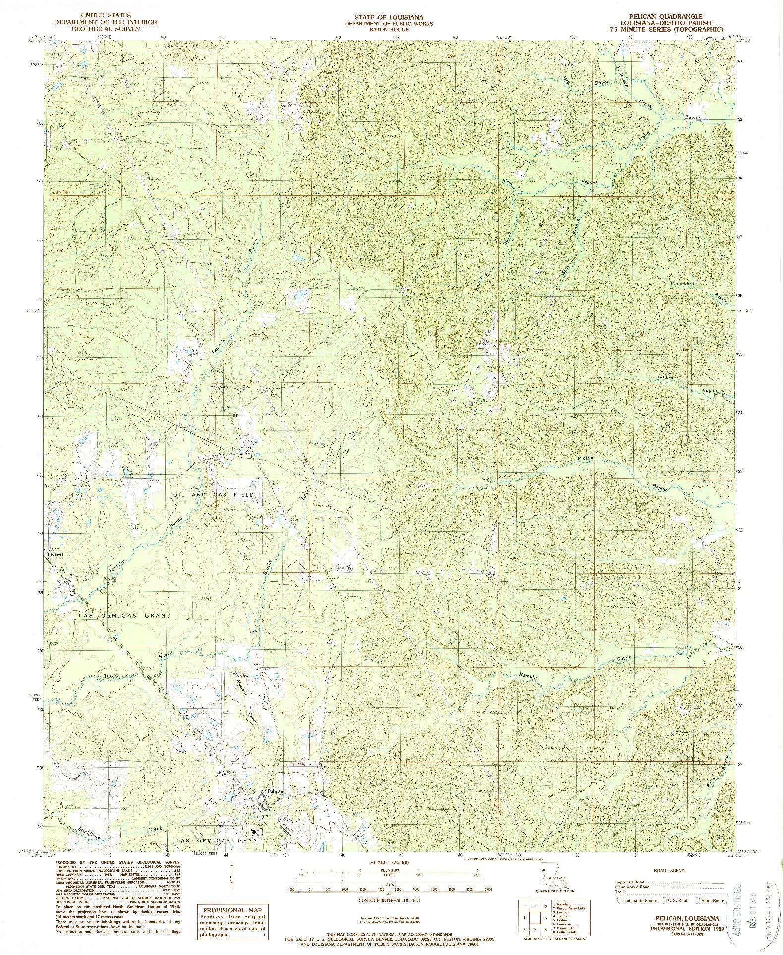 USGS 1:24000-SCALE QUADRANGLE FOR PELICAN, LA 1989