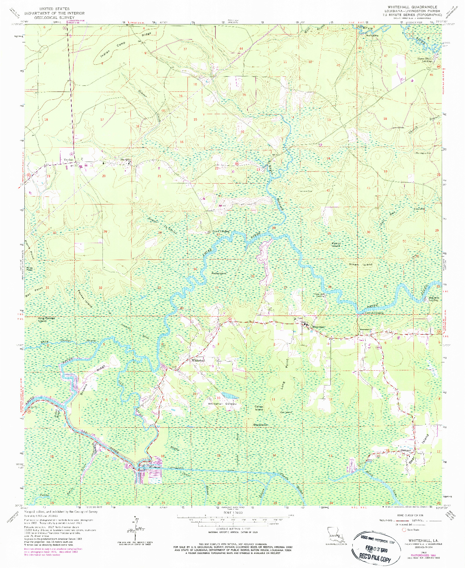 USGS 1:24000-SCALE QUADRANGLE FOR WHITEHALL, LA 1963
