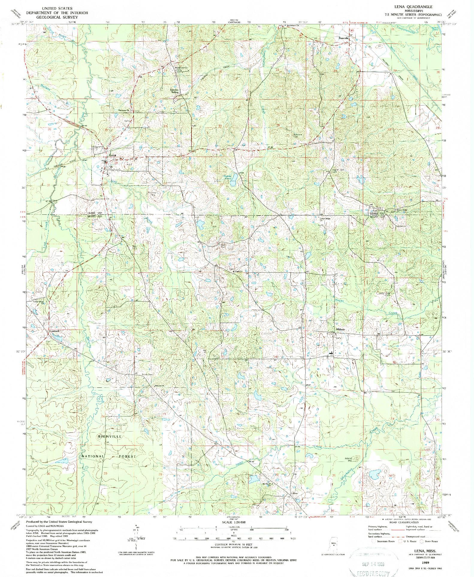 USGS 1:24000-SCALE QUADRANGLE FOR LENA, MS 1989