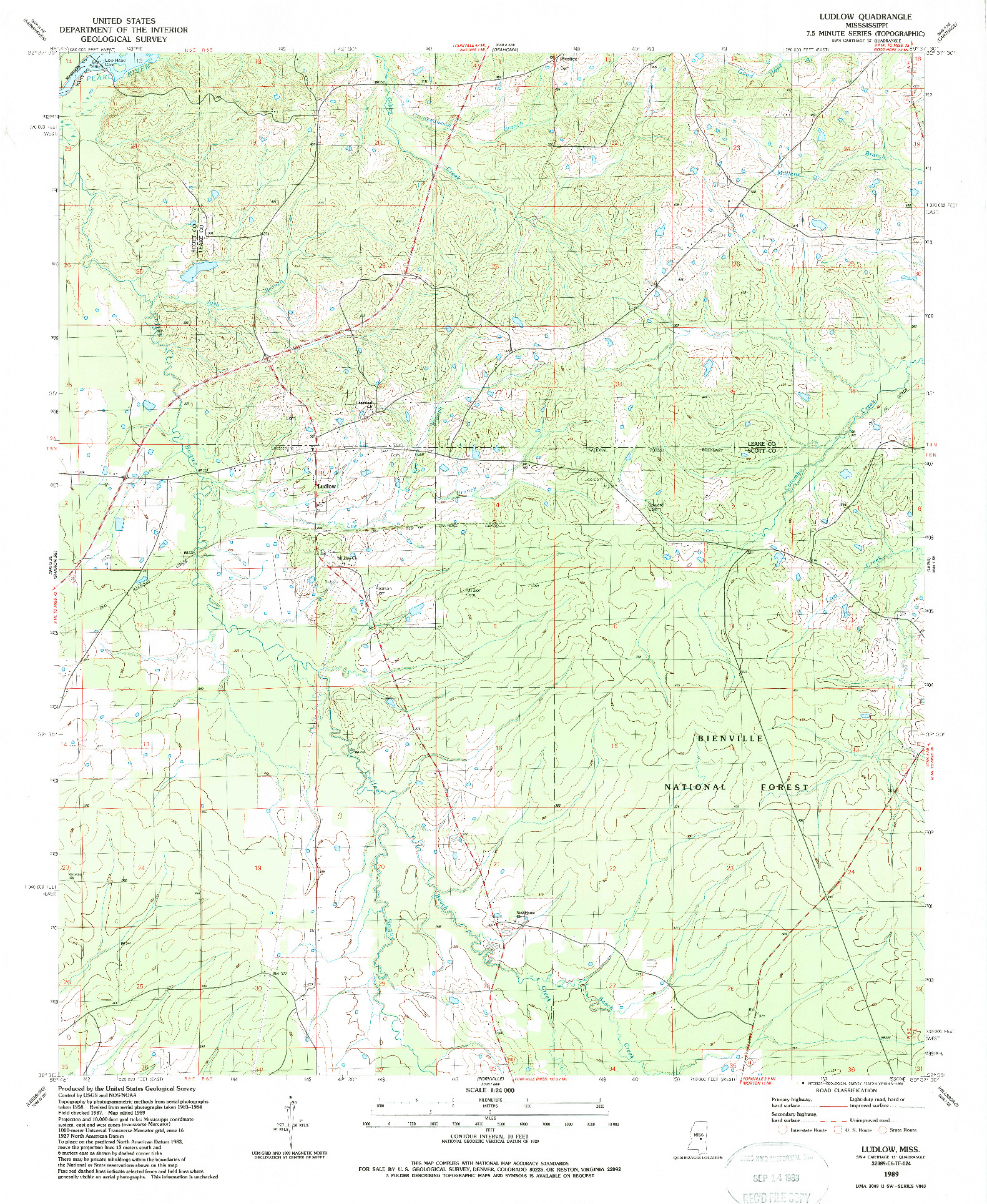 USGS 1:24000-SCALE QUADRANGLE FOR LUDLOW, MS 1989