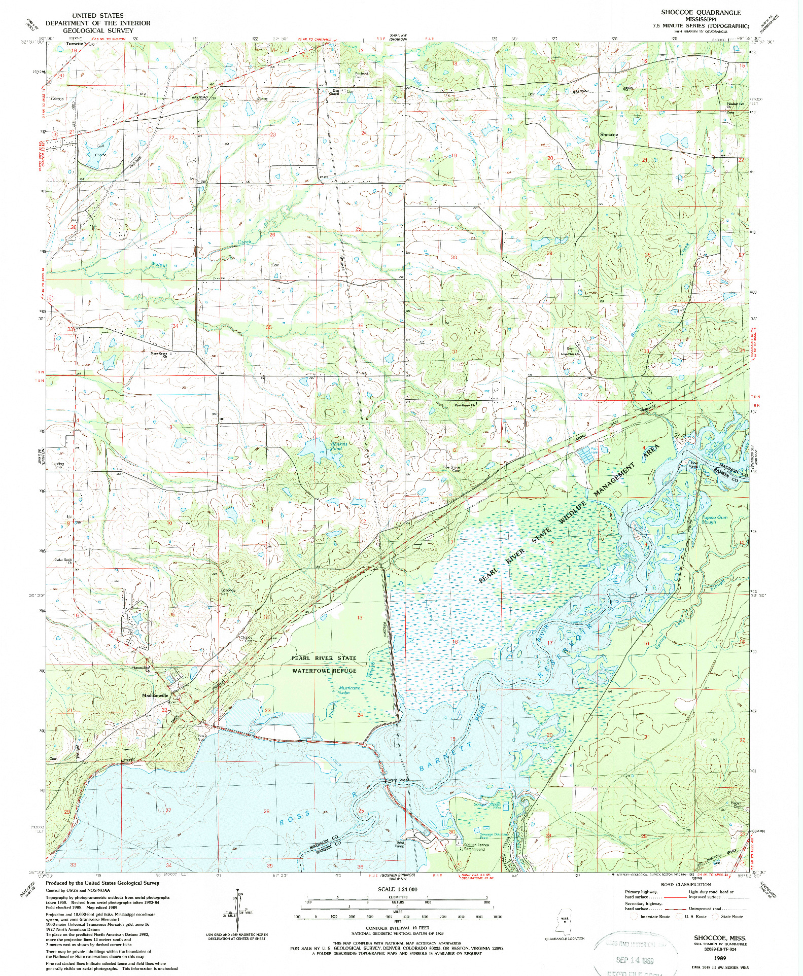 USGS 1:24000-SCALE QUADRANGLE FOR SHOCCOE, MS 1989