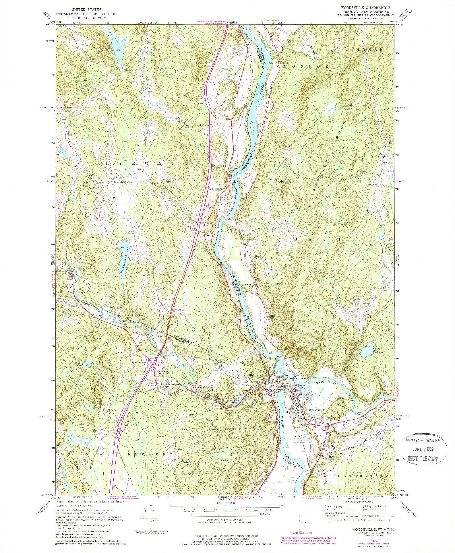 USGS 1:24000-SCALE QUADRANGLE FOR WOODSVILLE, VT 1973
