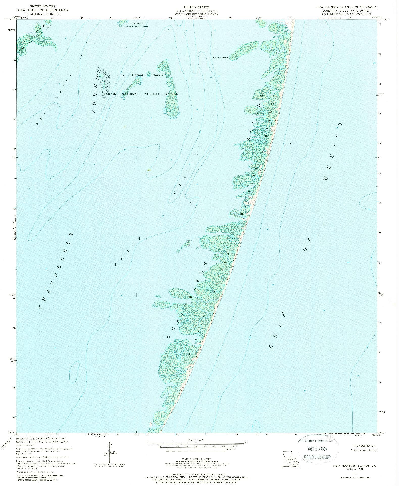 USGS 1:24000-SCALE QUADRANGLE FOR NEW HARBOR ISLANDS, LA 1951
