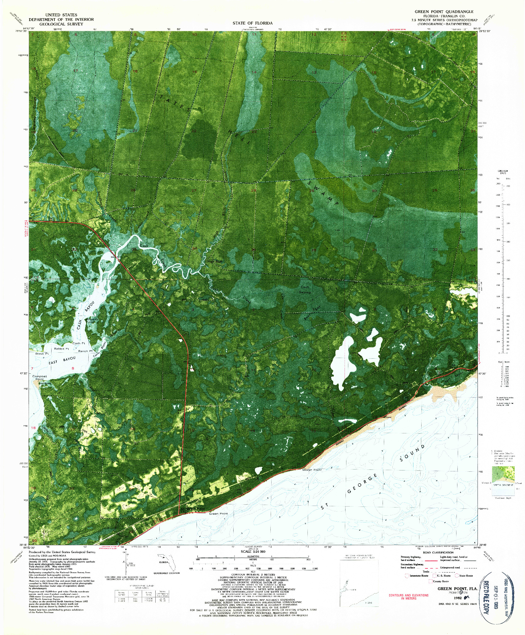 USGS 1:24000-SCALE QUADRANGLE FOR GREEN POINT, FL 1982