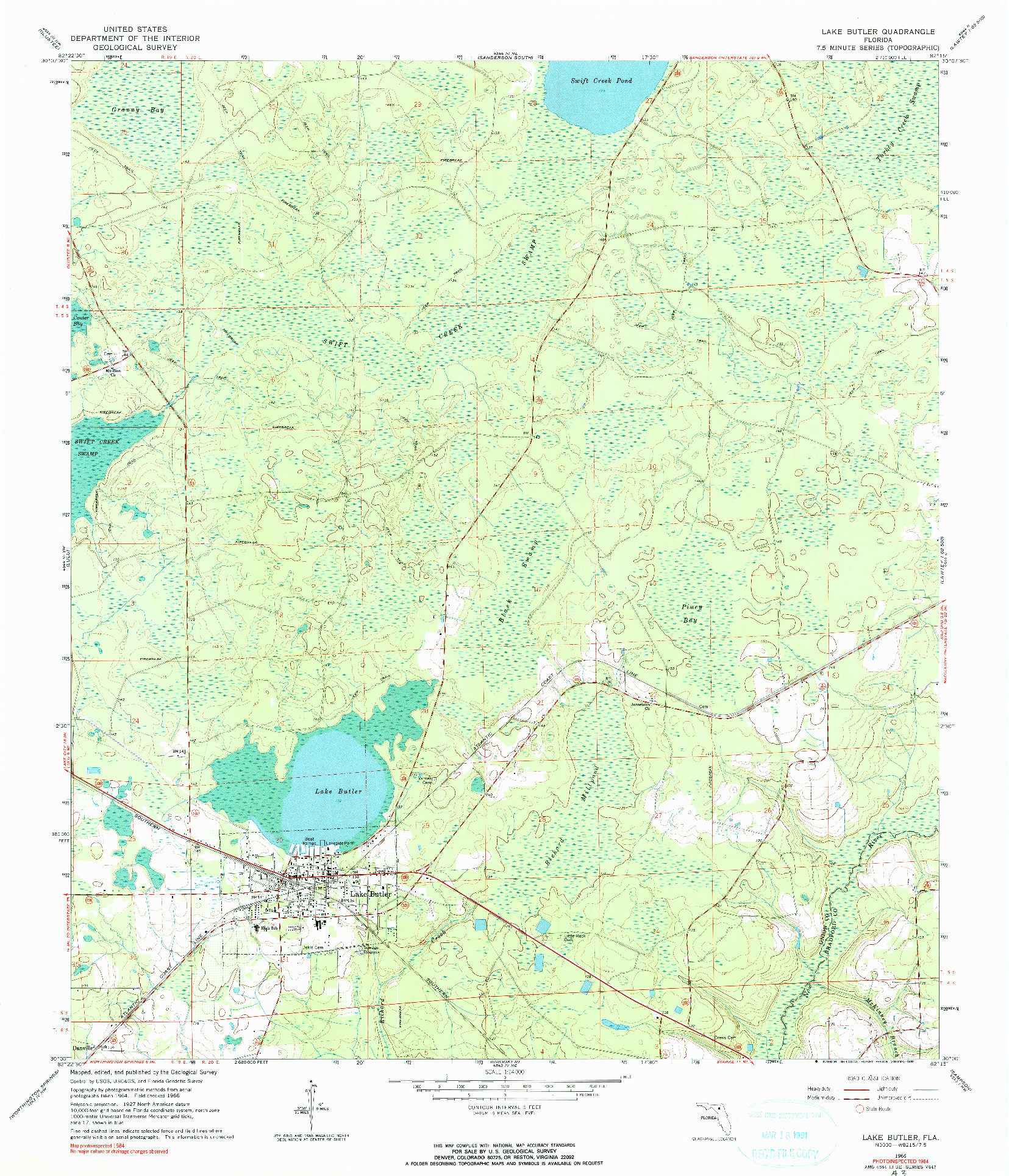 USGS 1:24000-SCALE QUADRANGLE FOR LAKE BUTLER, FL 1966