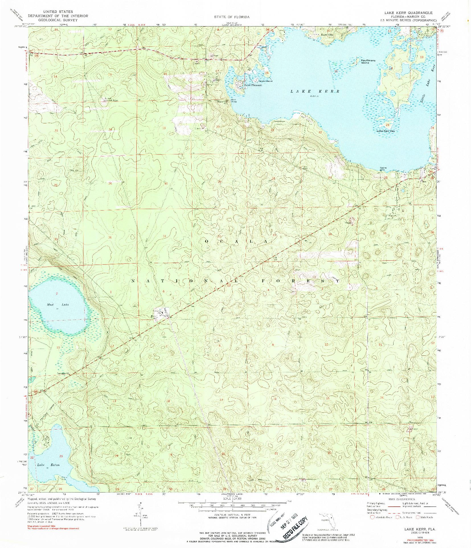 USGS 1:24000-SCALE QUADRANGLE FOR LAKE KERR, FL 1970