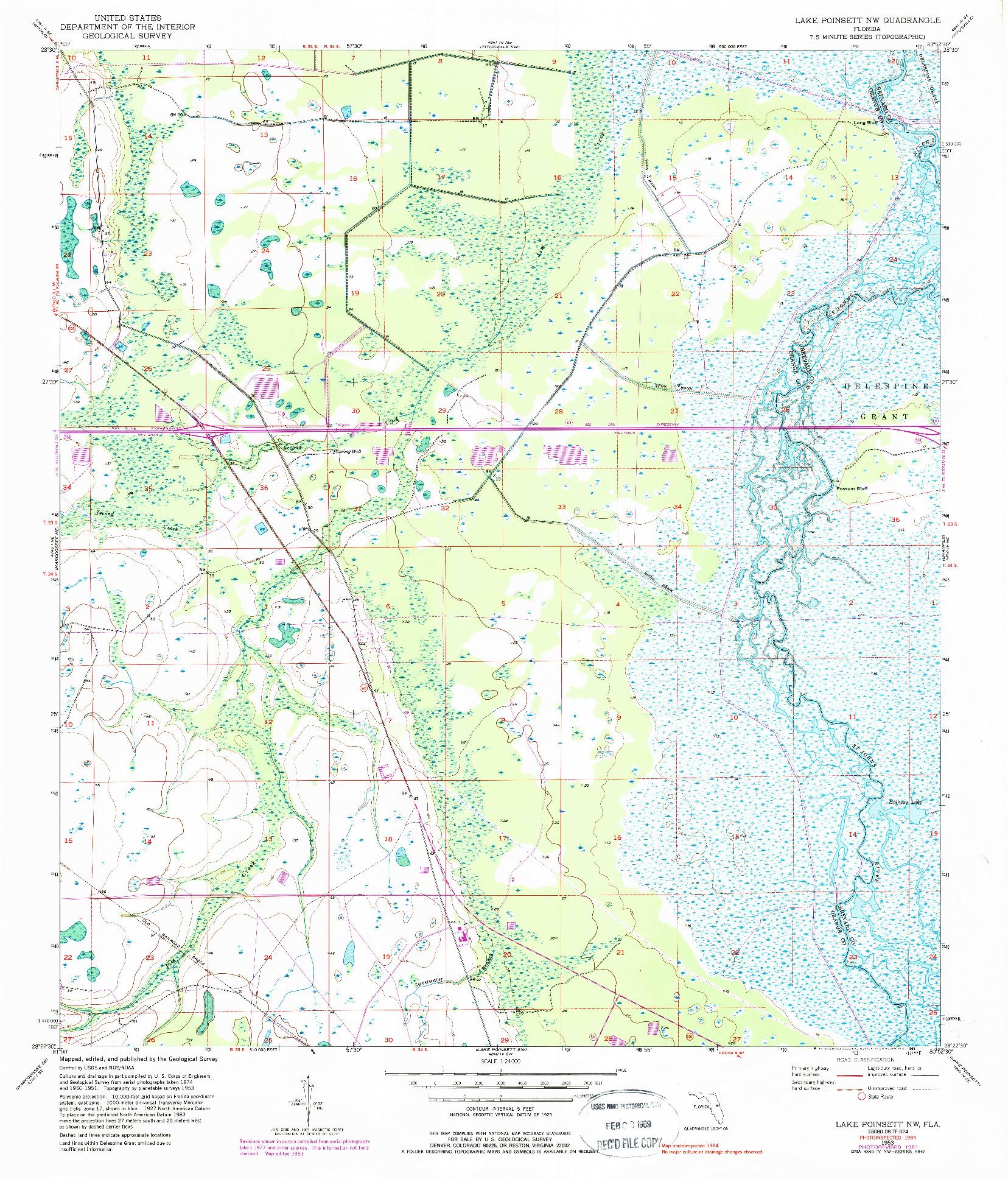 USGS 1:24000-SCALE QUADRANGLE FOR LAKE POINSETT NW, FL 1953
