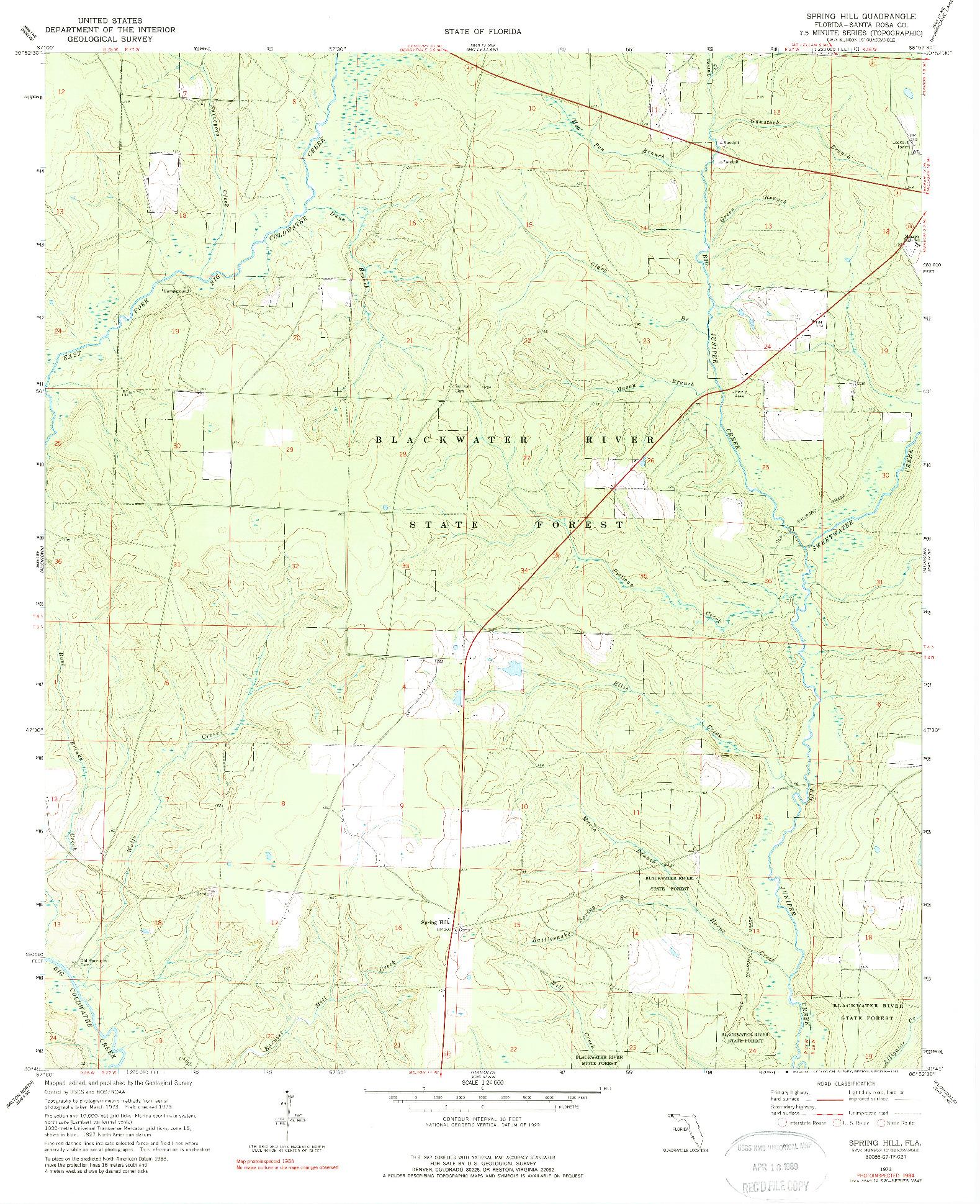 USGS 1:24000-SCALE QUADRANGLE FOR SPRING HILL, FL 1973