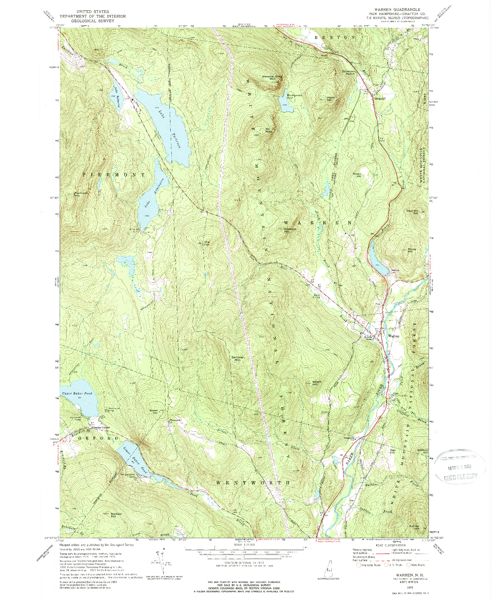 USGS 1:24000-SCALE QUADRANGLE FOR WARREN, NH 1973