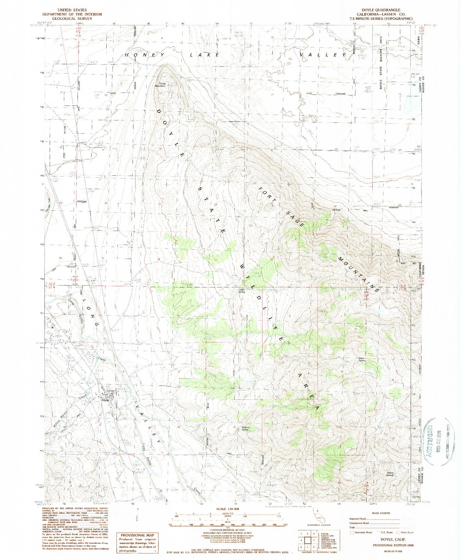 USGS 1:24000-SCALE QUADRANGLE FOR DOYLE, CA 1988