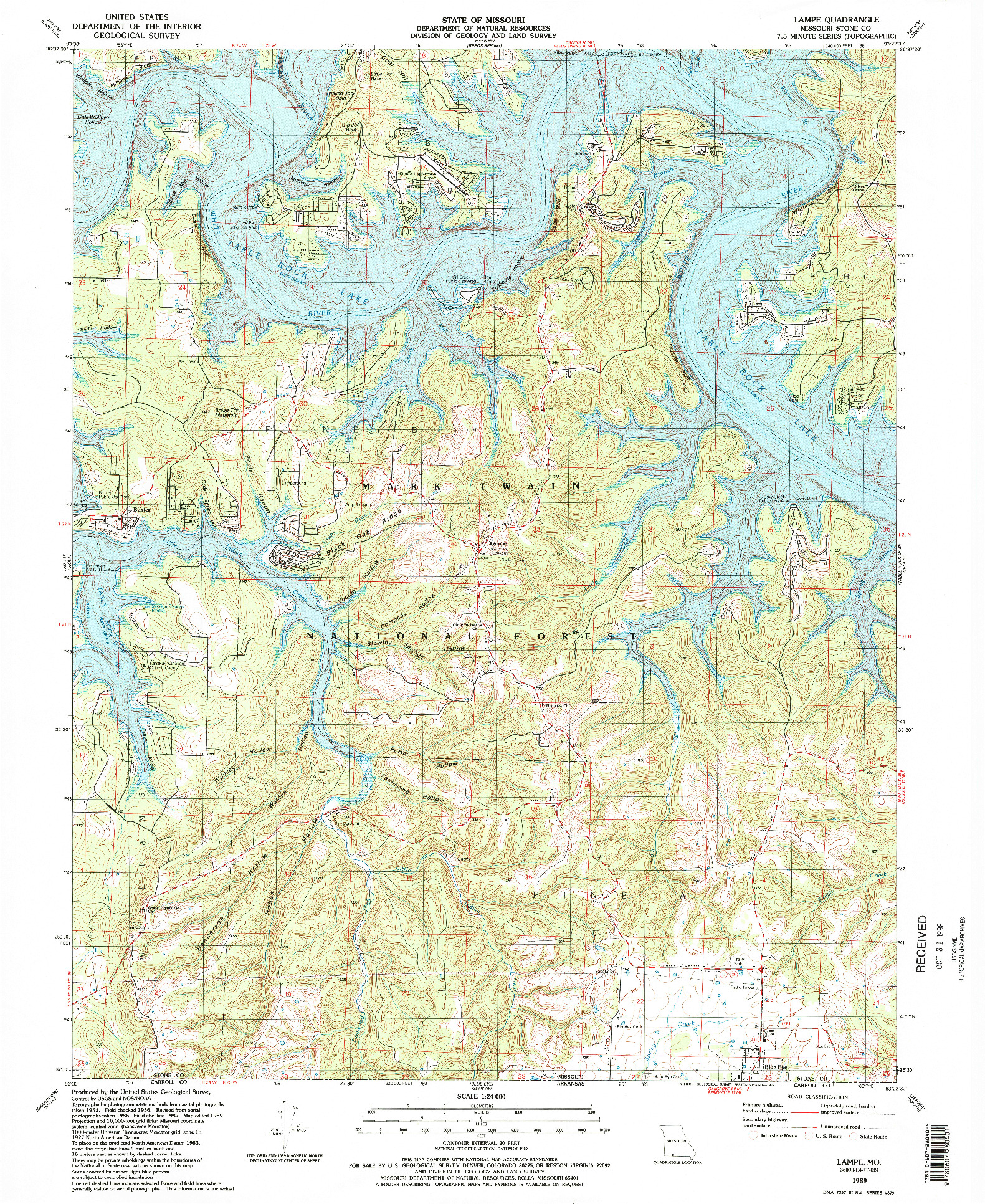 USGS 1:24000-SCALE QUADRANGLE FOR LAMPE, MO 1989