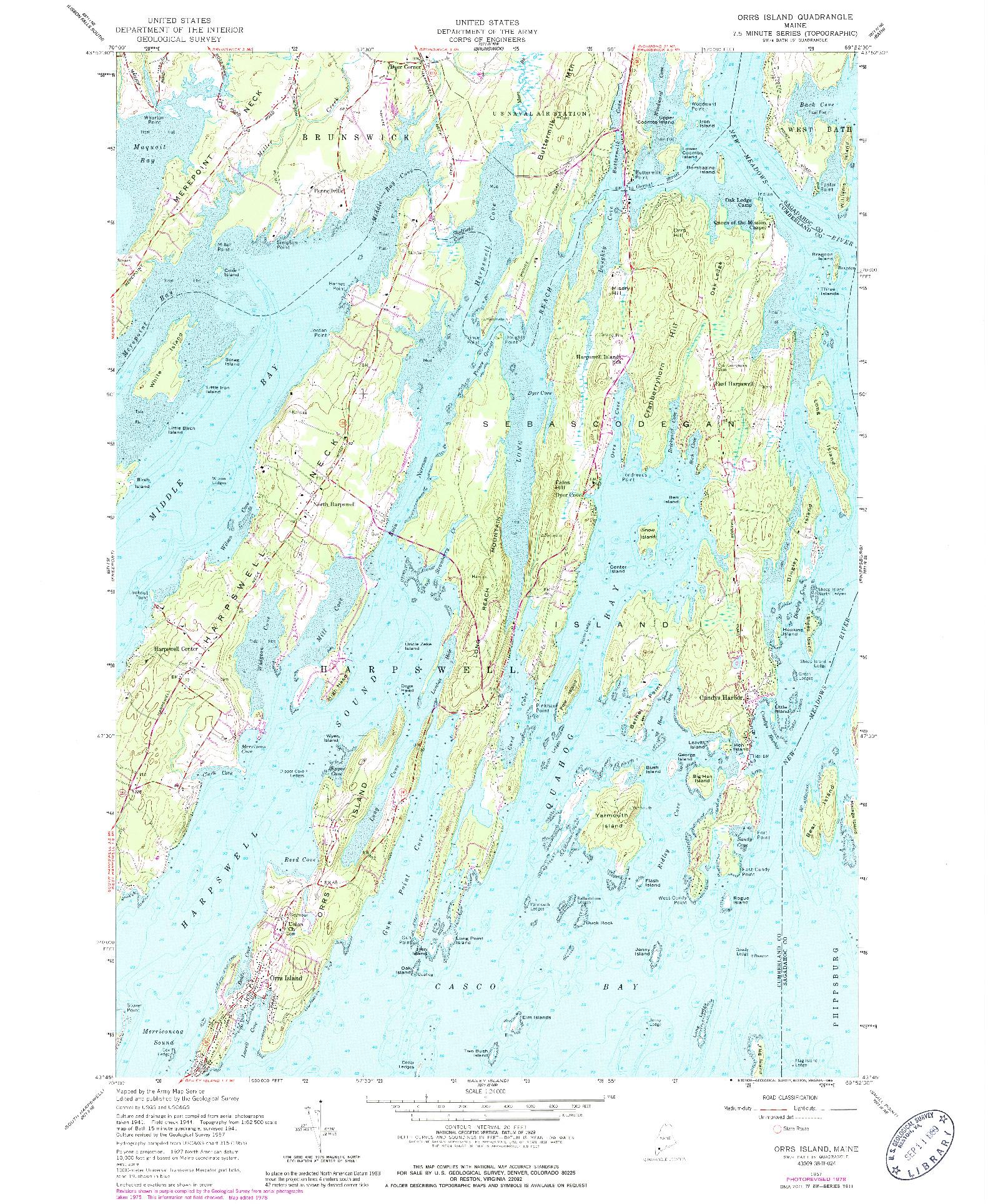 USGS 1:24000-SCALE QUADRANGLE FOR ORRS ISLAND, ME 1957