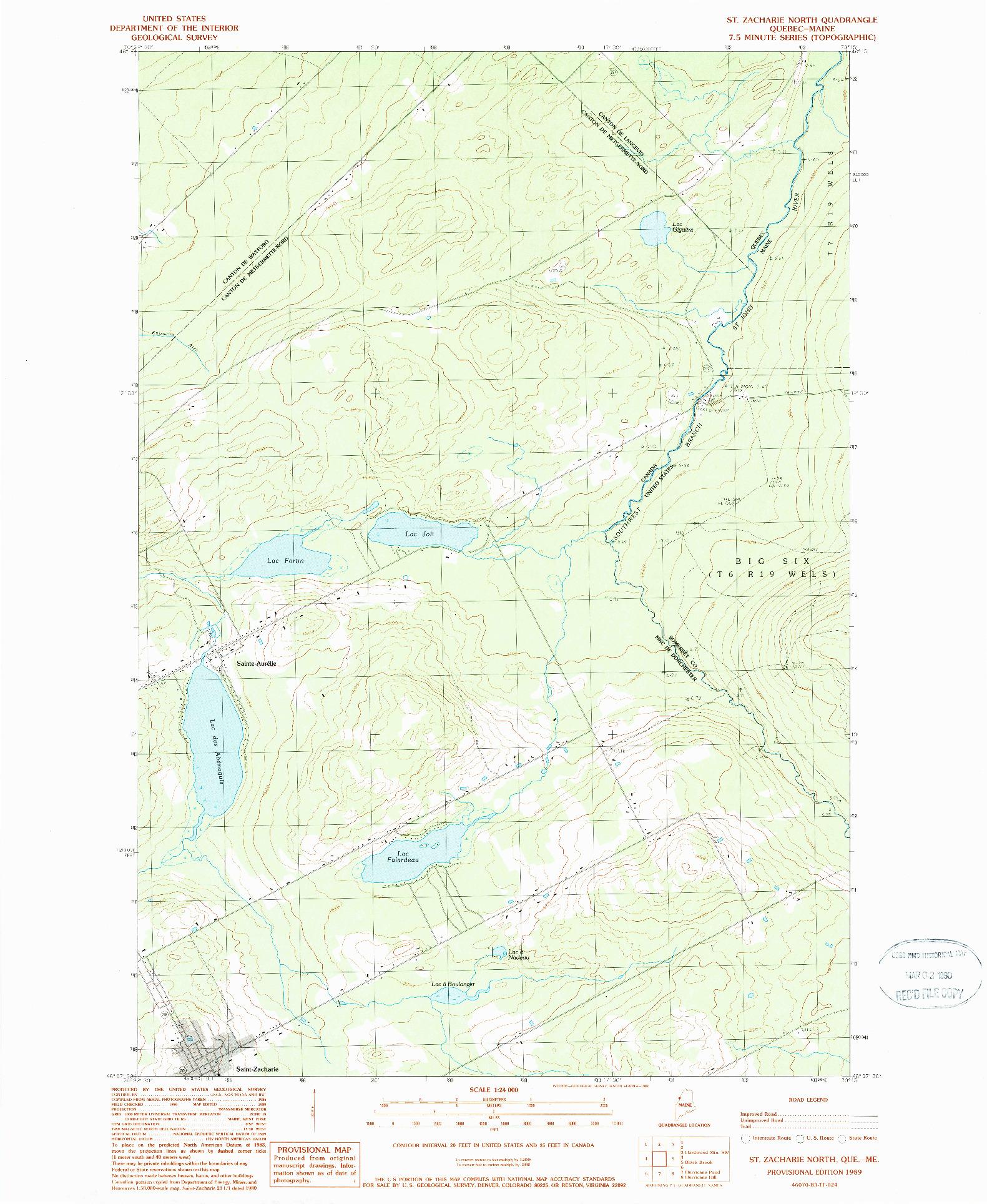 USGS 1:24000-SCALE QUADRANGLE FOR ST. ZACHARIE NORTH, ME 1989
