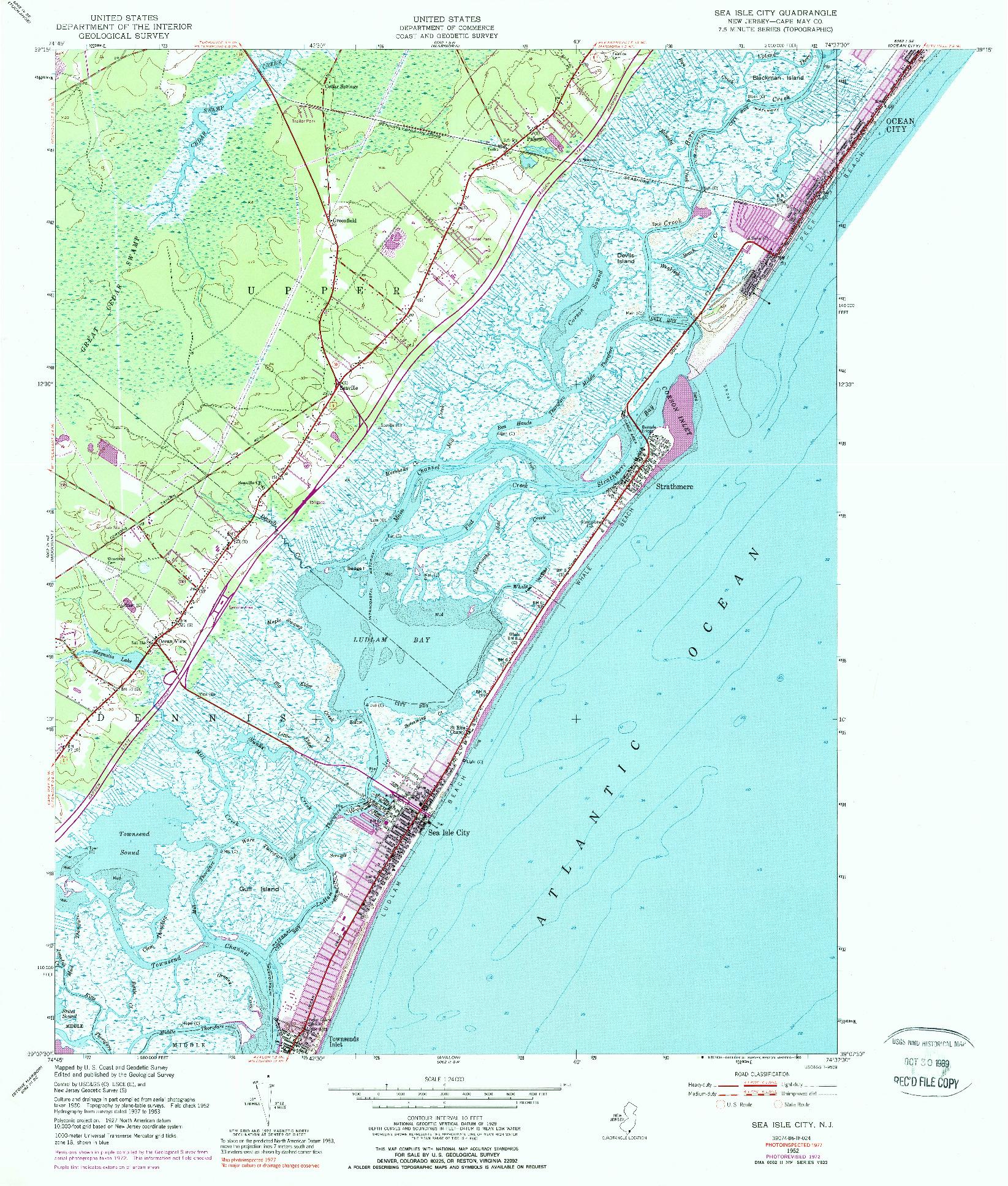 USGS 1:24000-SCALE QUADRANGLE FOR SEA ISLE CITY, NJ 1952