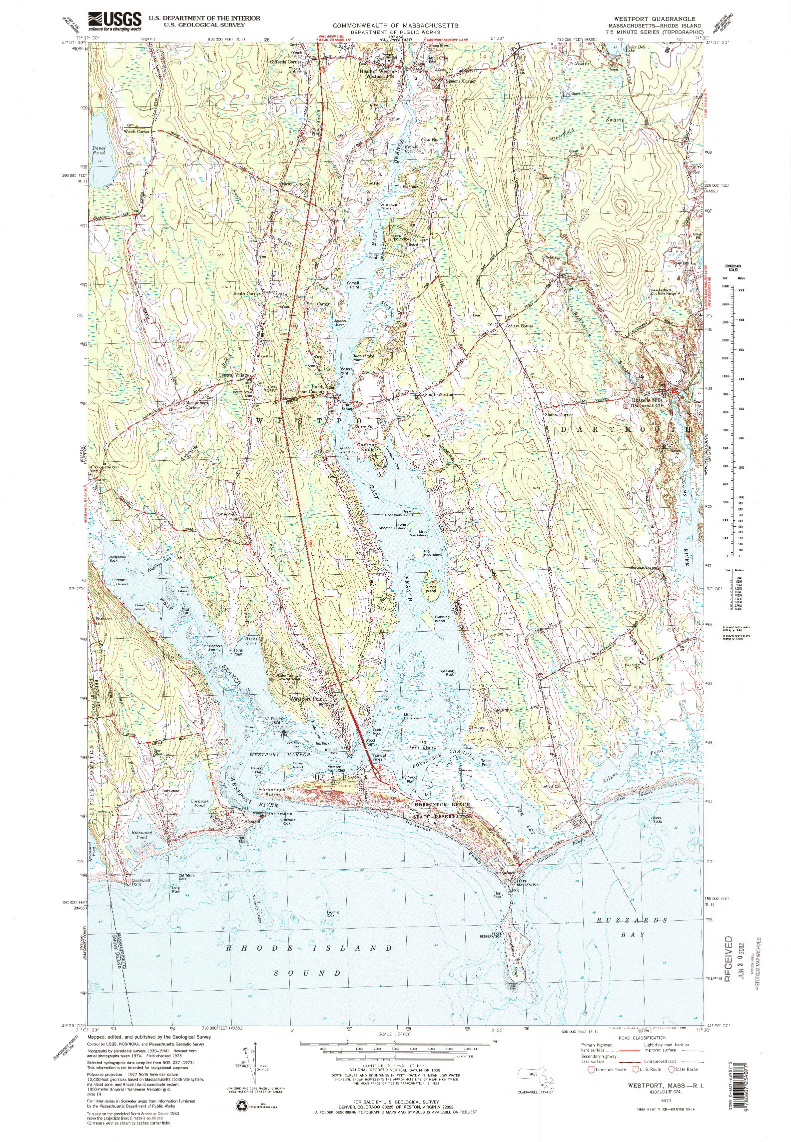 USGS 1:24000-SCALE QUADRANGLE FOR WESTPORT, MA 1977