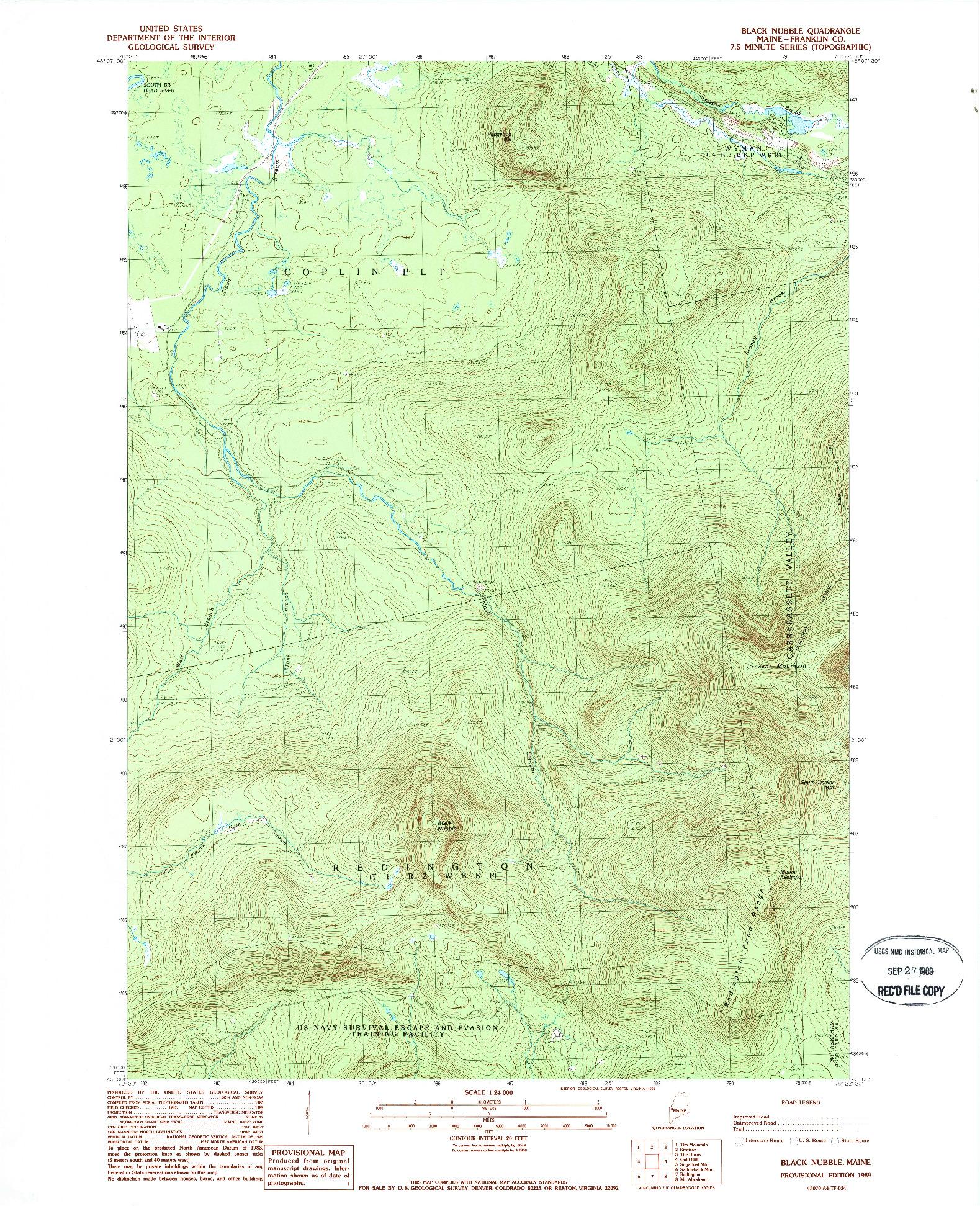 USGS 1:24000-SCALE QUADRANGLE FOR BLACK NUBBLE, ME 1989
