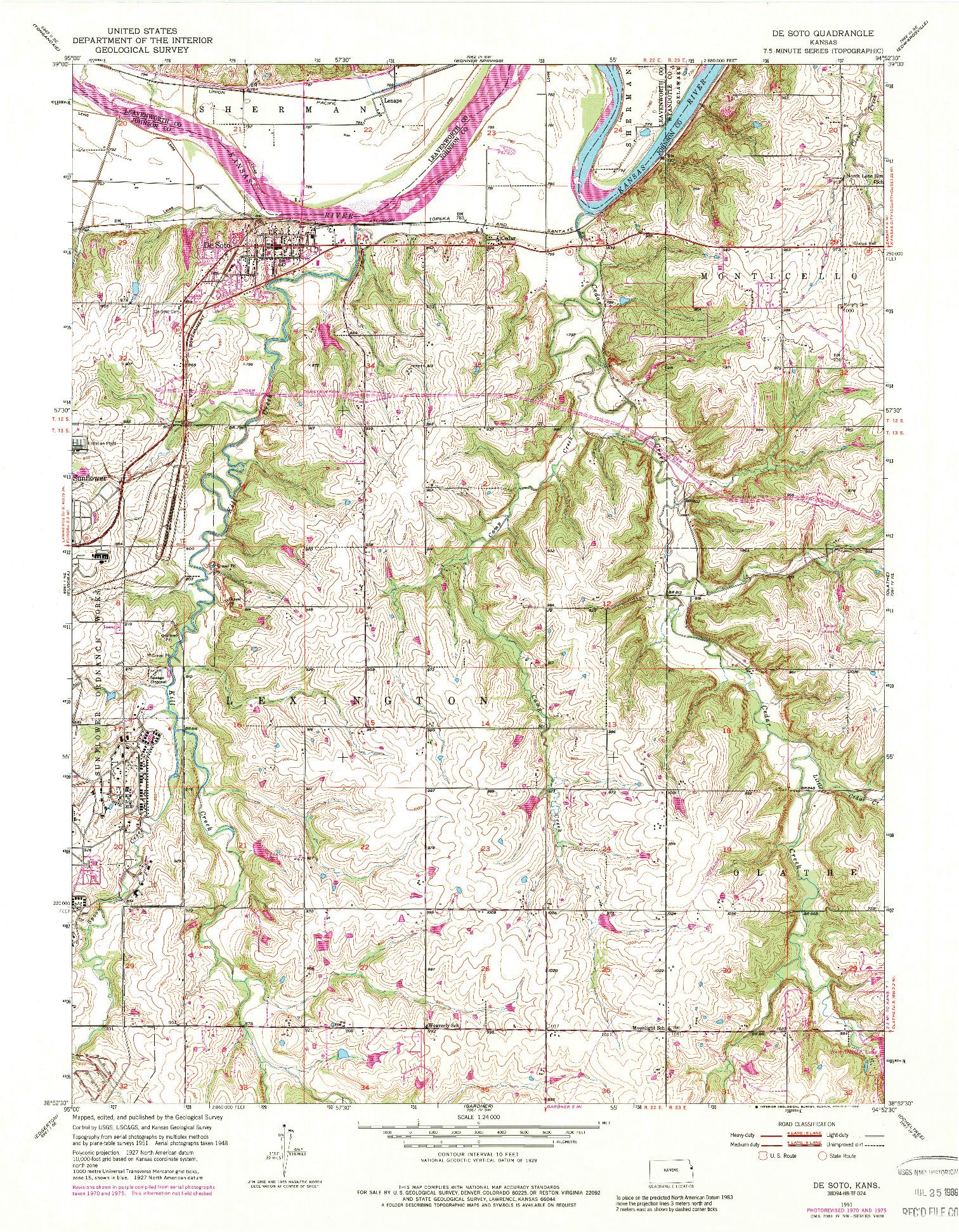USGS 1:24000-SCALE QUADRANGLE FOR DE SOTO, KS 1951