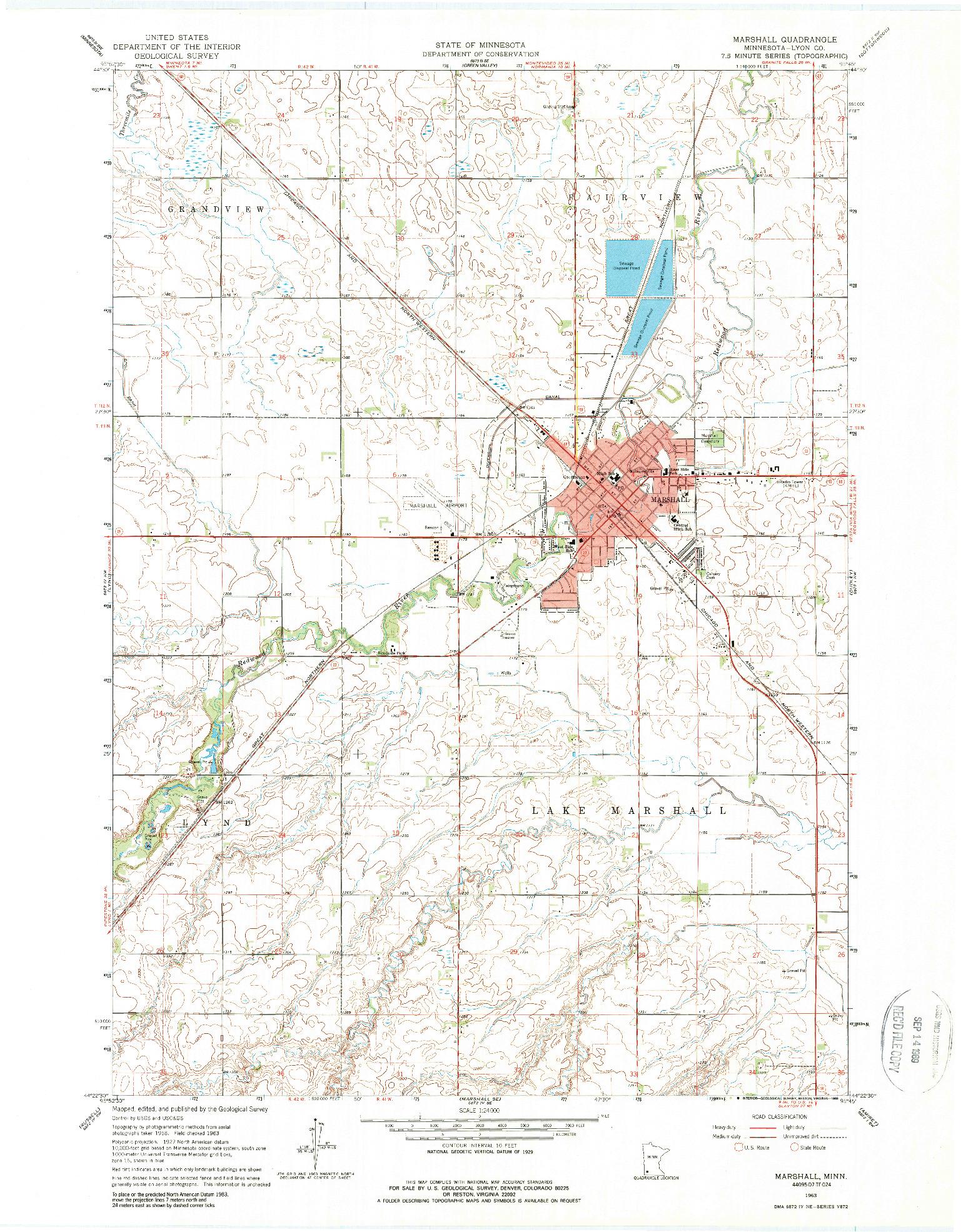 USGS 1:24000-SCALE QUADRANGLE FOR MARSHALL, MN 1963