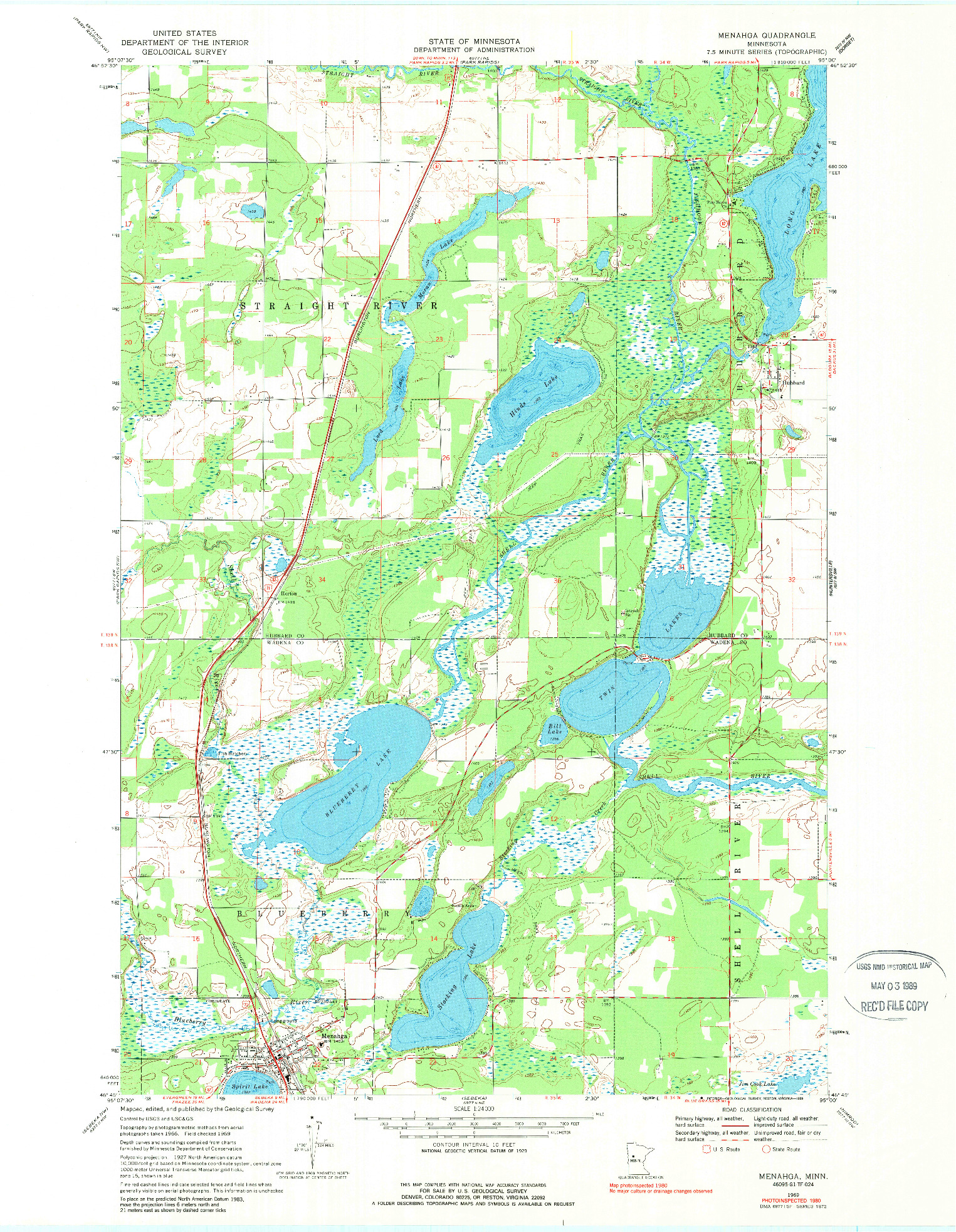 USGS 1:24000-SCALE QUADRANGLE FOR MENAHGA, MN 1969
