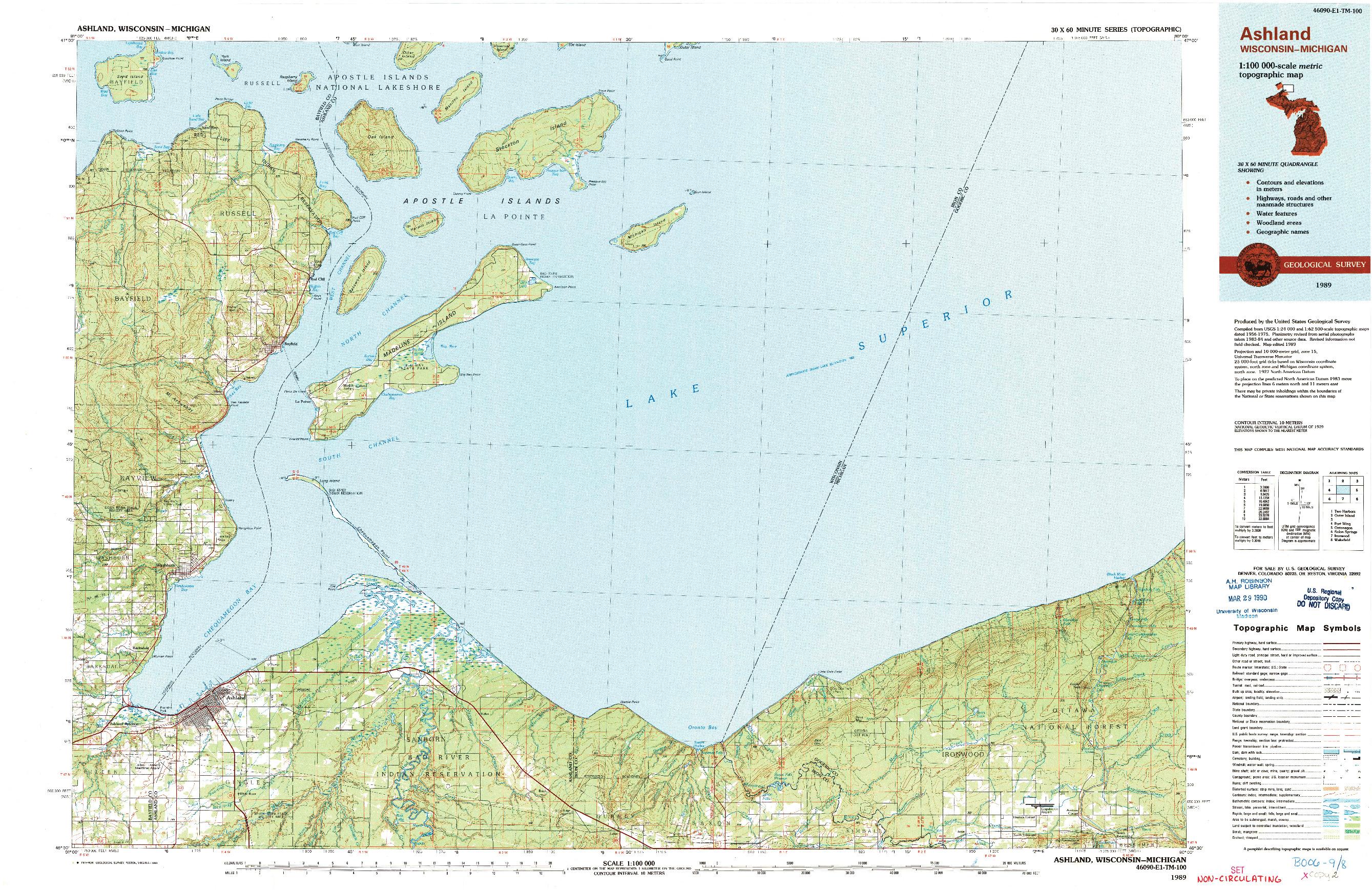 USGS 1:100000-SCALE QUADRANGLE FOR ASHLAND, WI 1989