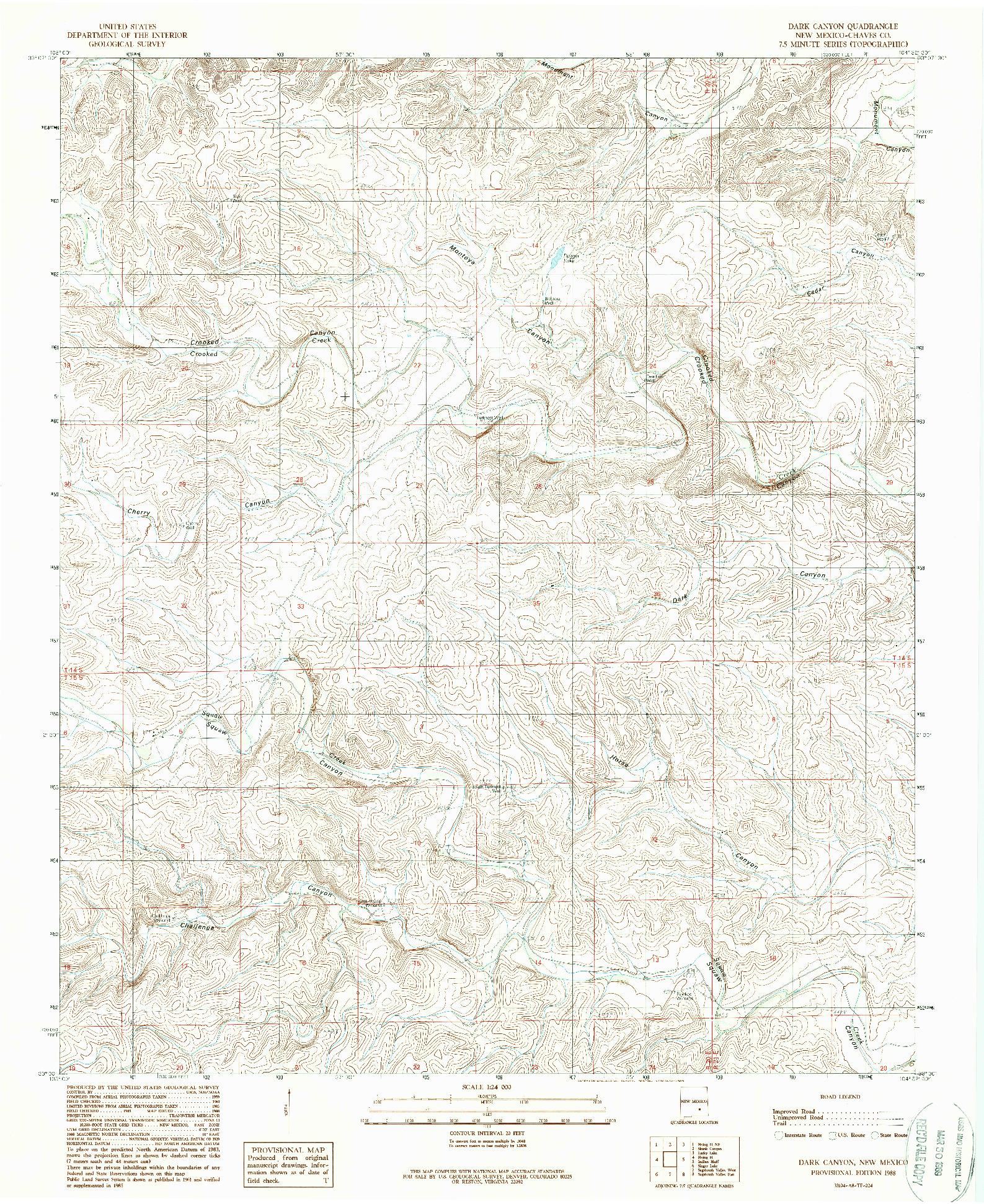 USGS 1:24000-SCALE QUADRANGLE FOR DARK CANYON, NM 1988