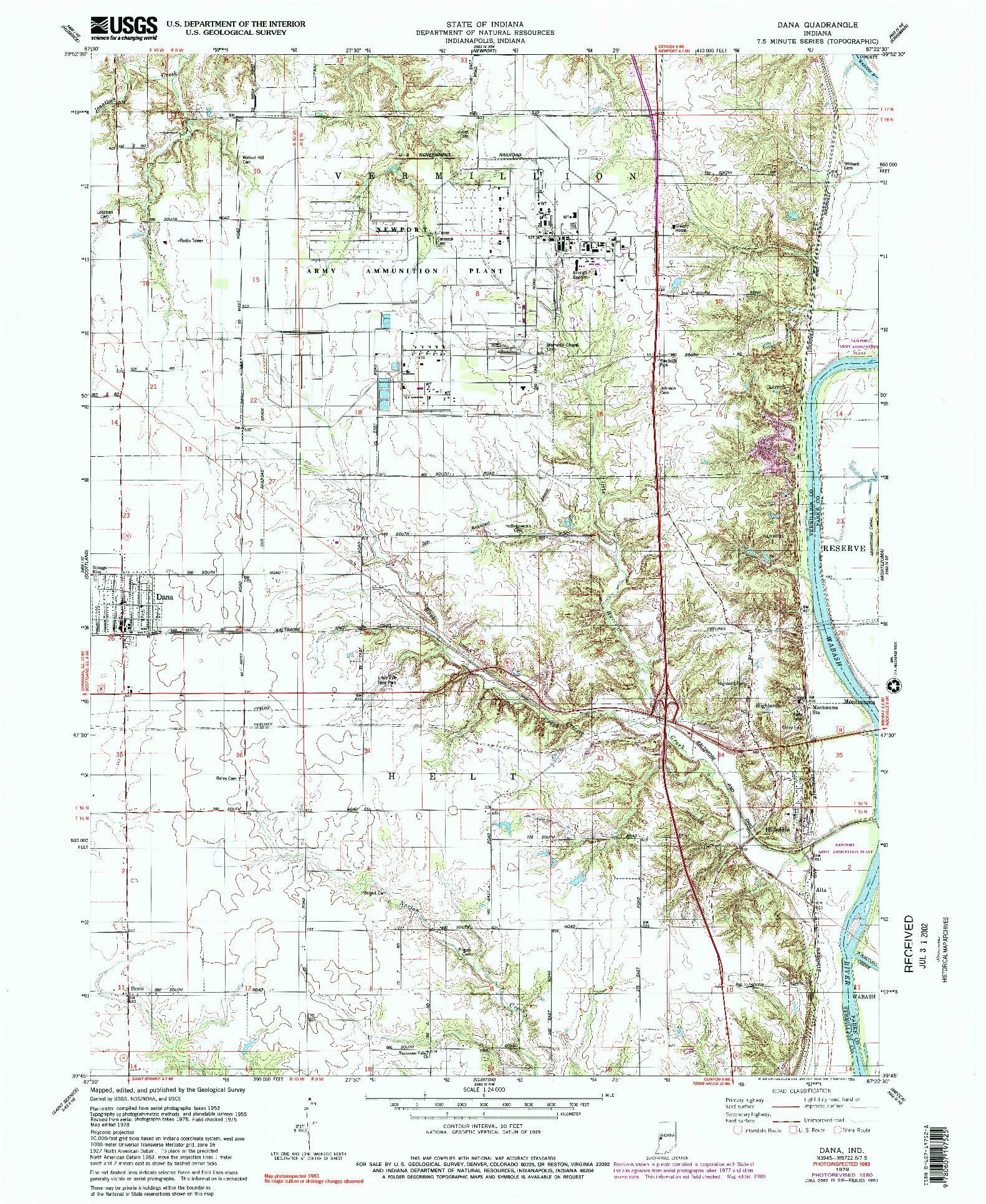 USGS 1:24000-SCALE QUADRANGLE FOR DANA, IN 1978