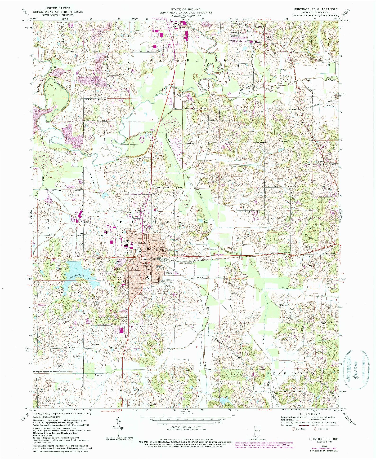 USGS 1:24000-SCALE QUADRANGLE FOR HUNTINGBURG, IN 1969