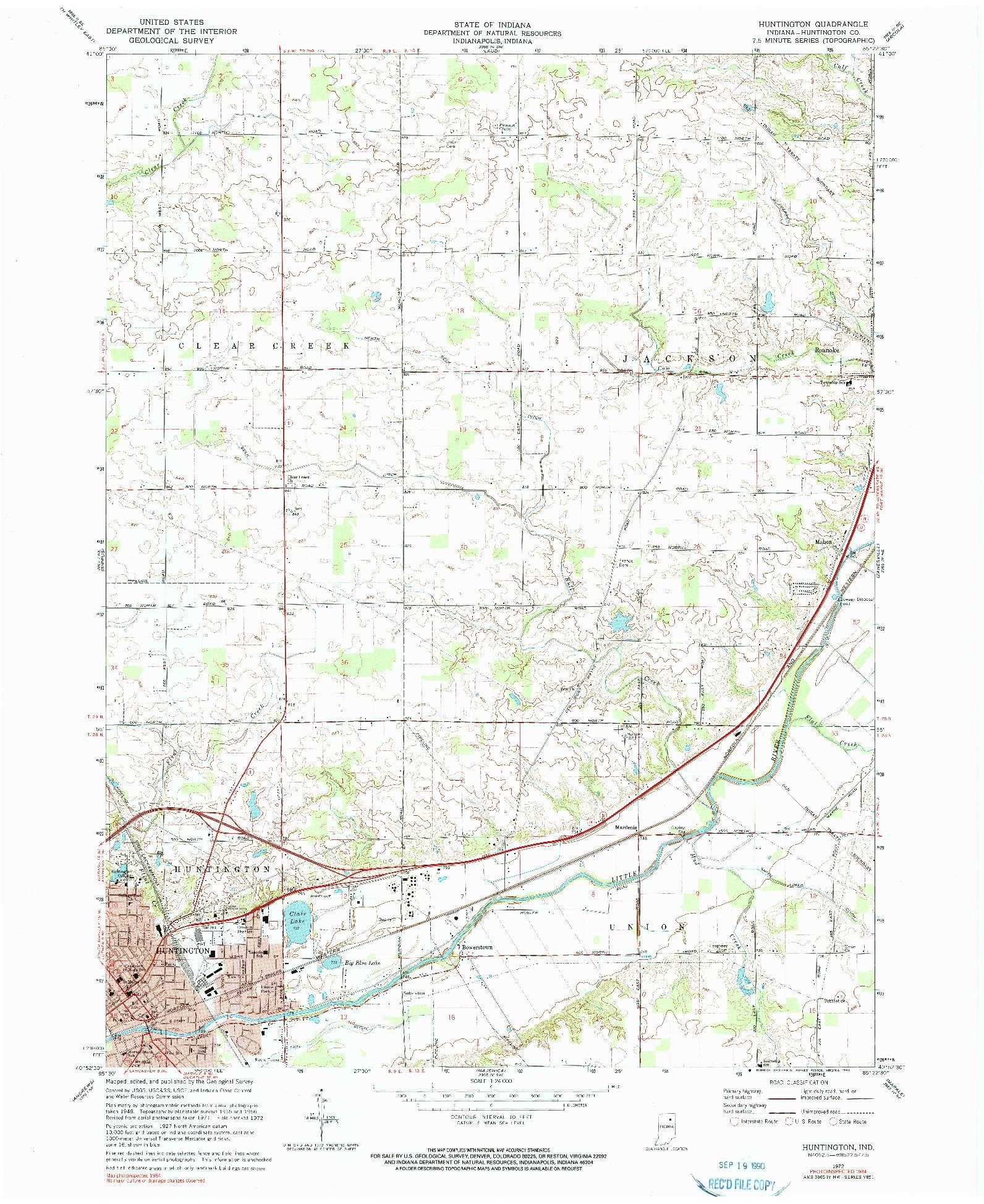 USGS 1:24000-SCALE QUADRANGLE FOR HUNTINGTON, IN 1972
