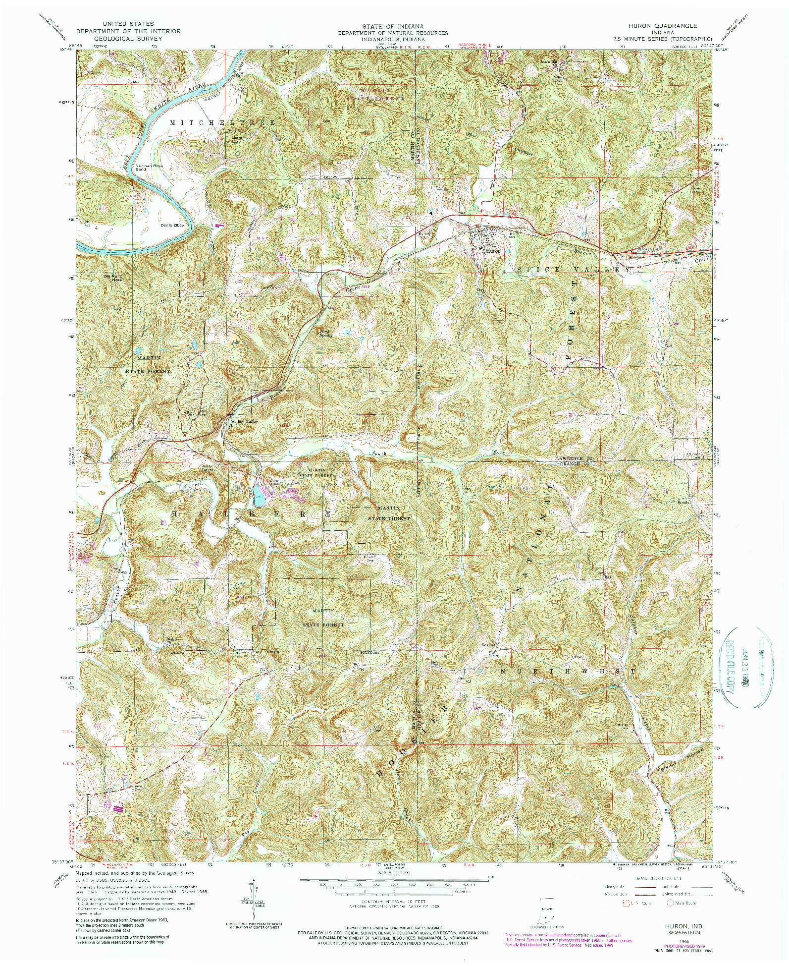USGS 1:24000-SCALE QUADRANGLE FOR HURON, IN 1965