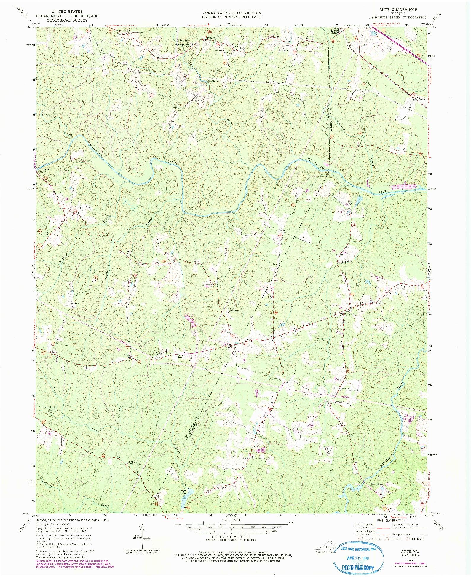 USGS 1:24000-SCALE QUADRANGLE FOR ANTE, VA 1963