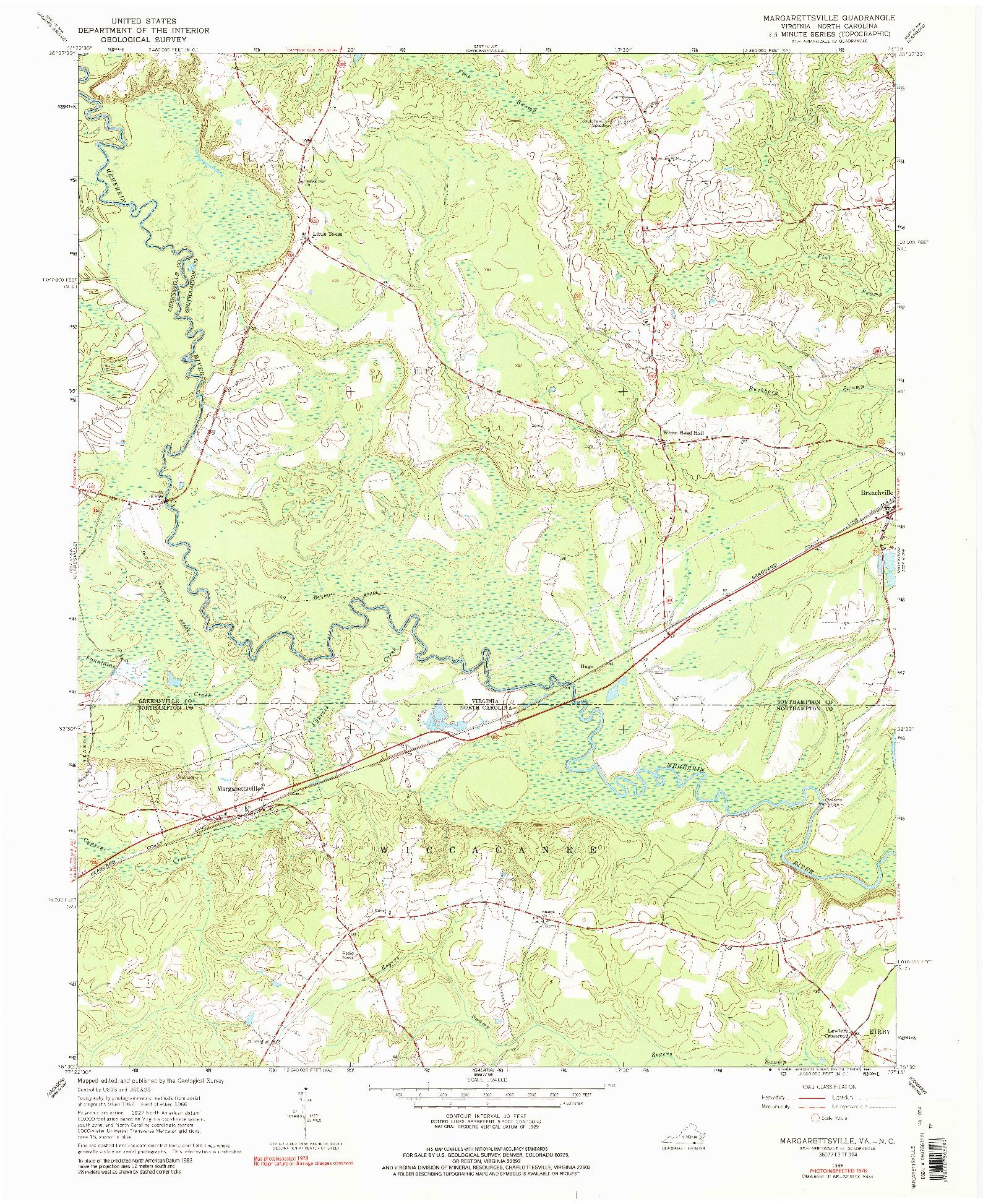 USGS 1:24000-SCALE QUADRANGLE FOR MARGARETTSVILLE, VA 1966