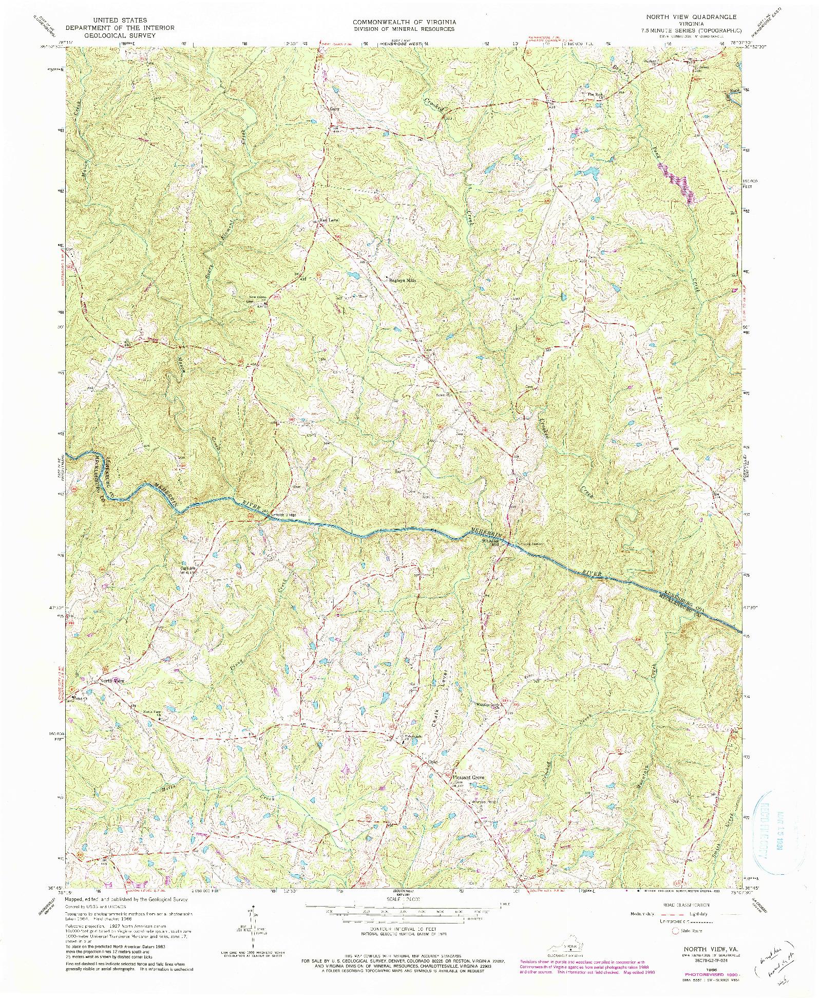 USGS 1:24000-SCALE QUADRANGLE FOR NORTH VIEW, VA 1966