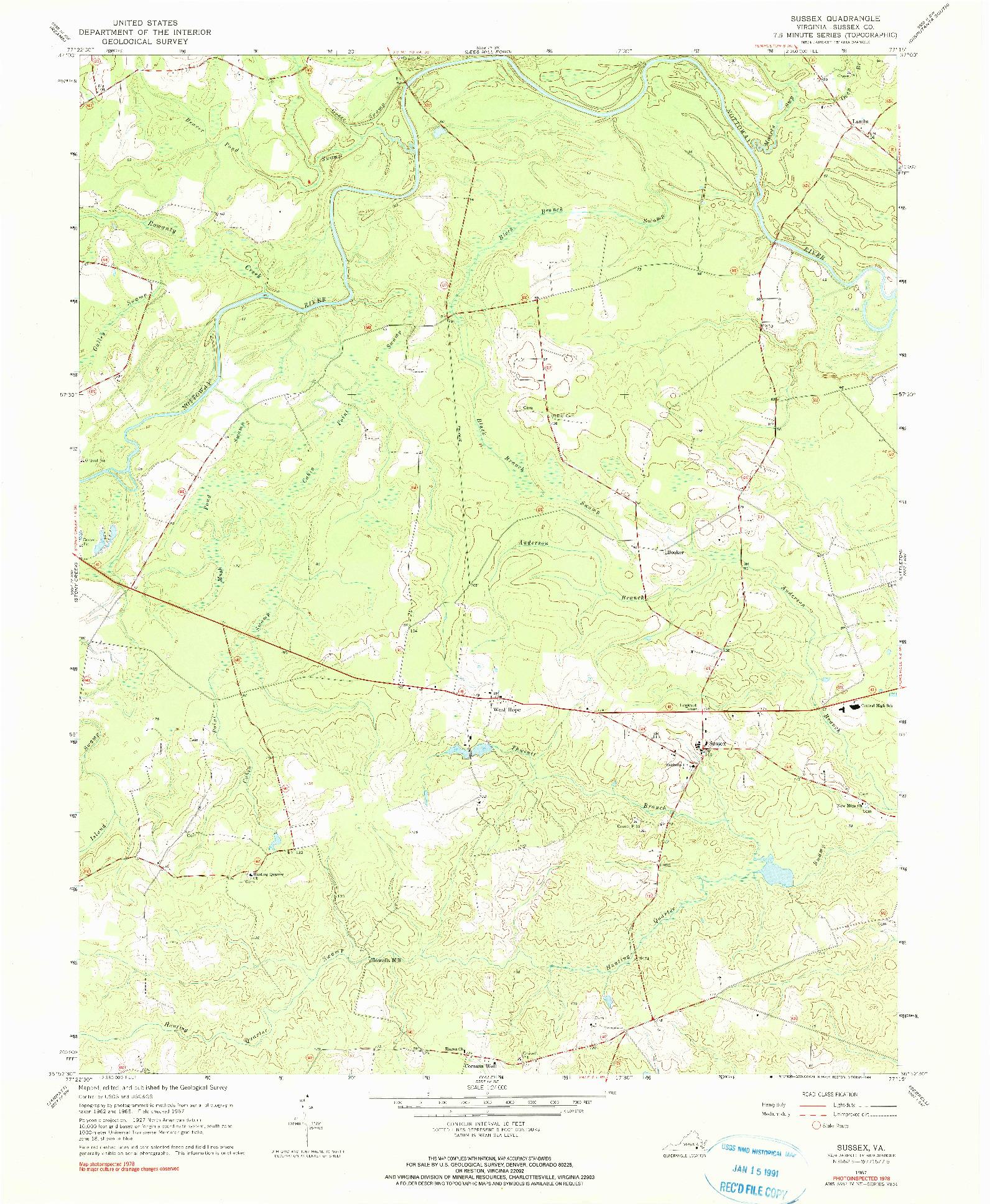 USGS 1:24000-SCALE QUADRANGLE FOR SUSSEX, VA 1967