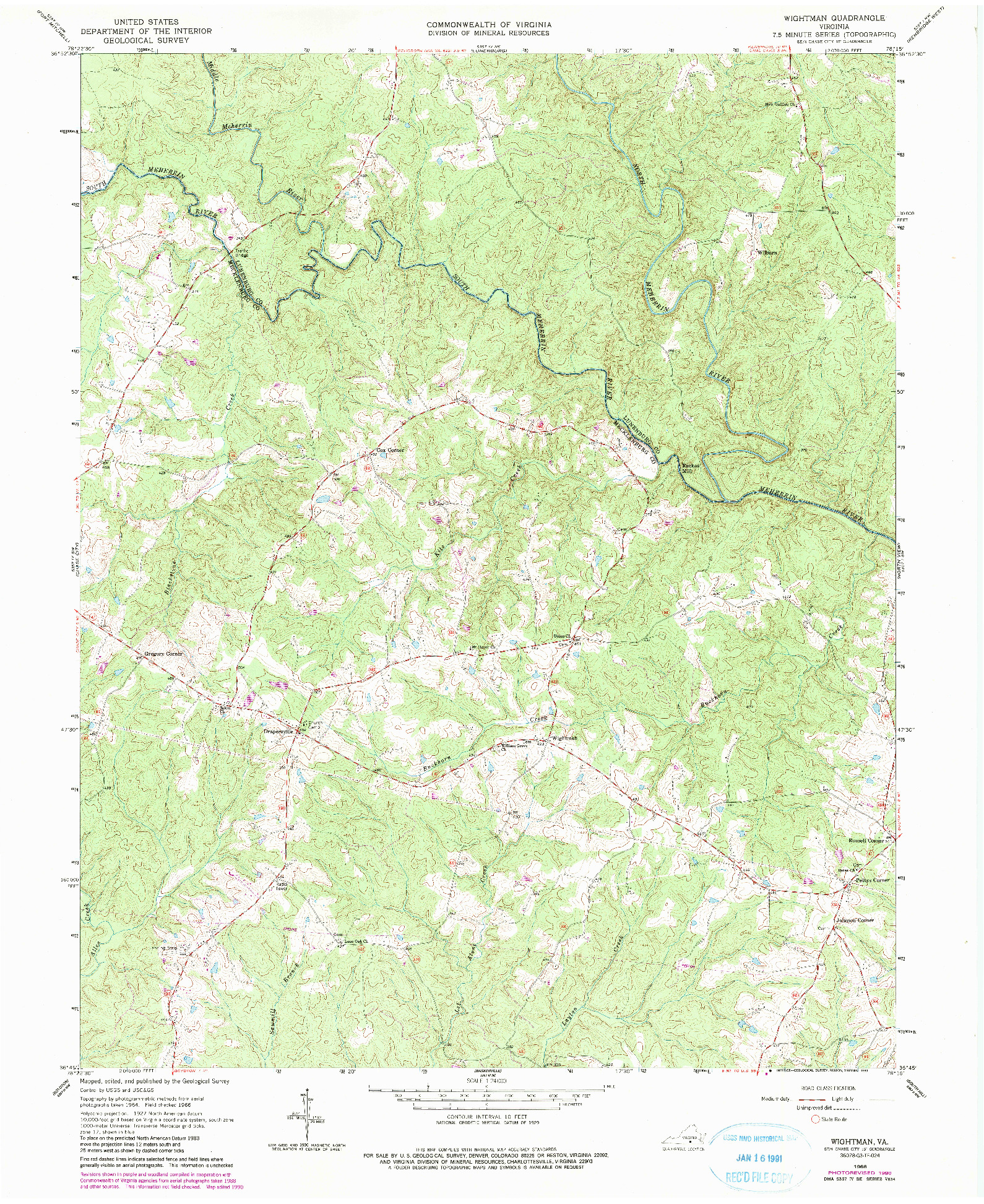 USGS 1:24000-SCALE QUADRANGLE FOR WIGHTMAN, VA 1966