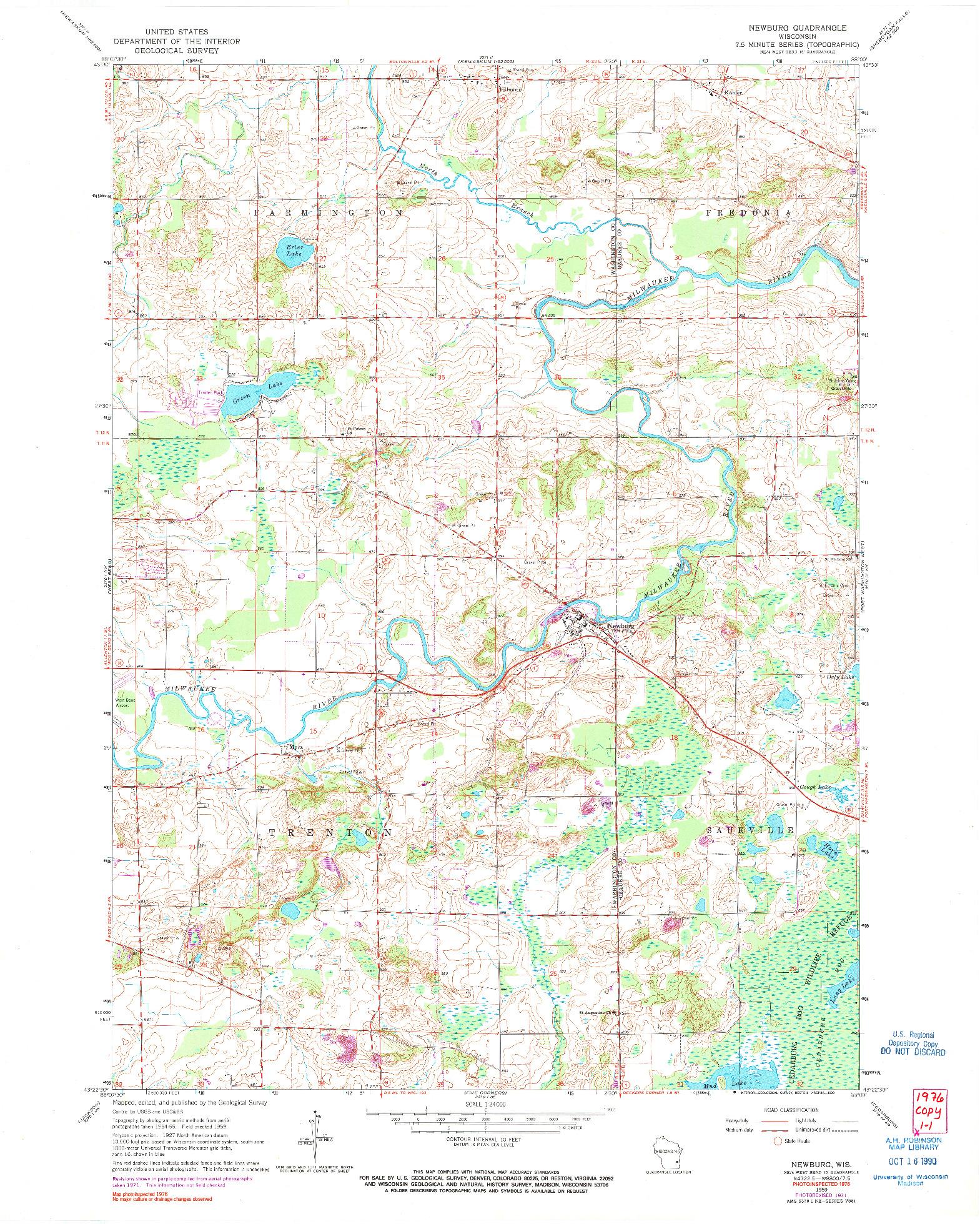 USGS 1:24000-SCALE QUADRANGLE FOR NEWBURG, WI 1959