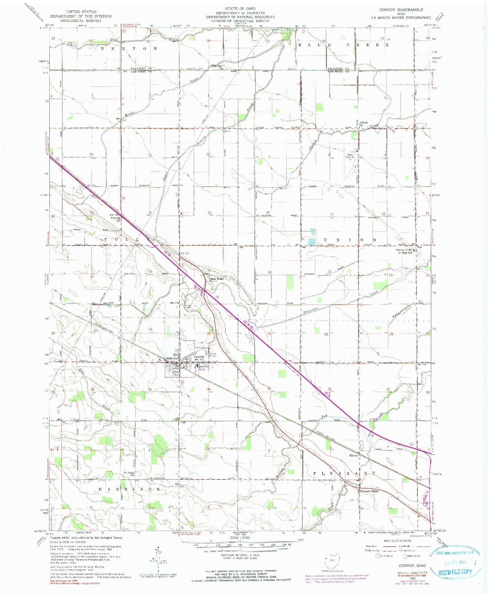 USGS 1:24000-SCALE QUADRANGLE FOR CONVOY, OH 1960
