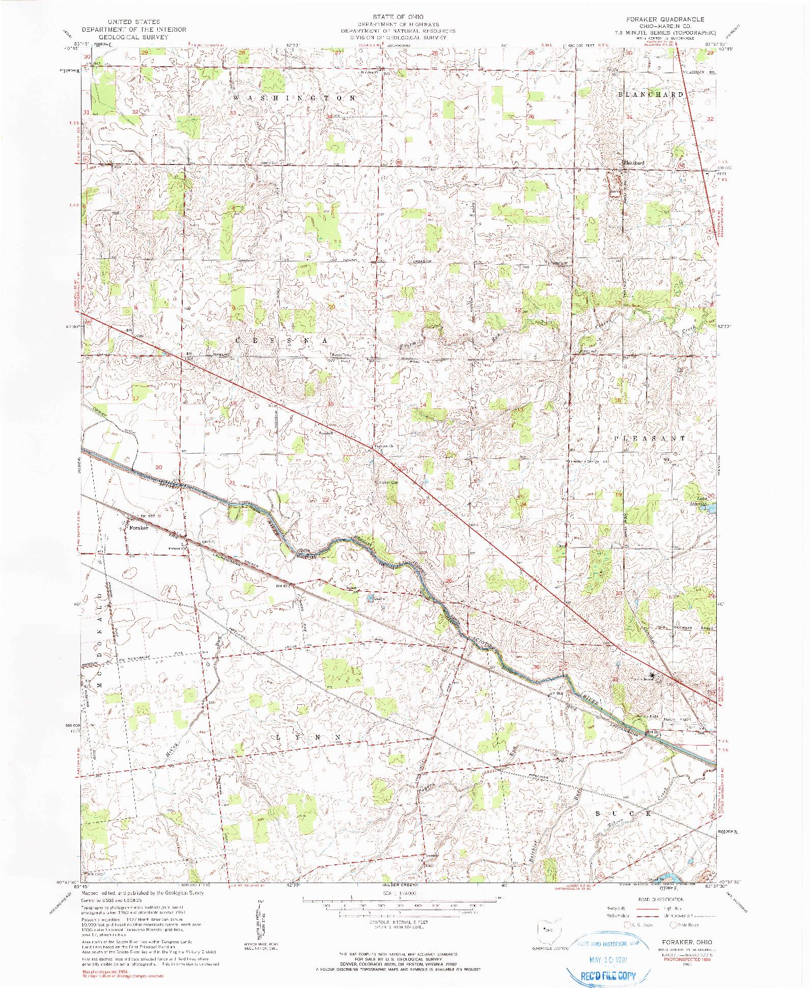 USGS 1:24000-SCALE QUADRANGLE FOR FORAKER, OH 1961