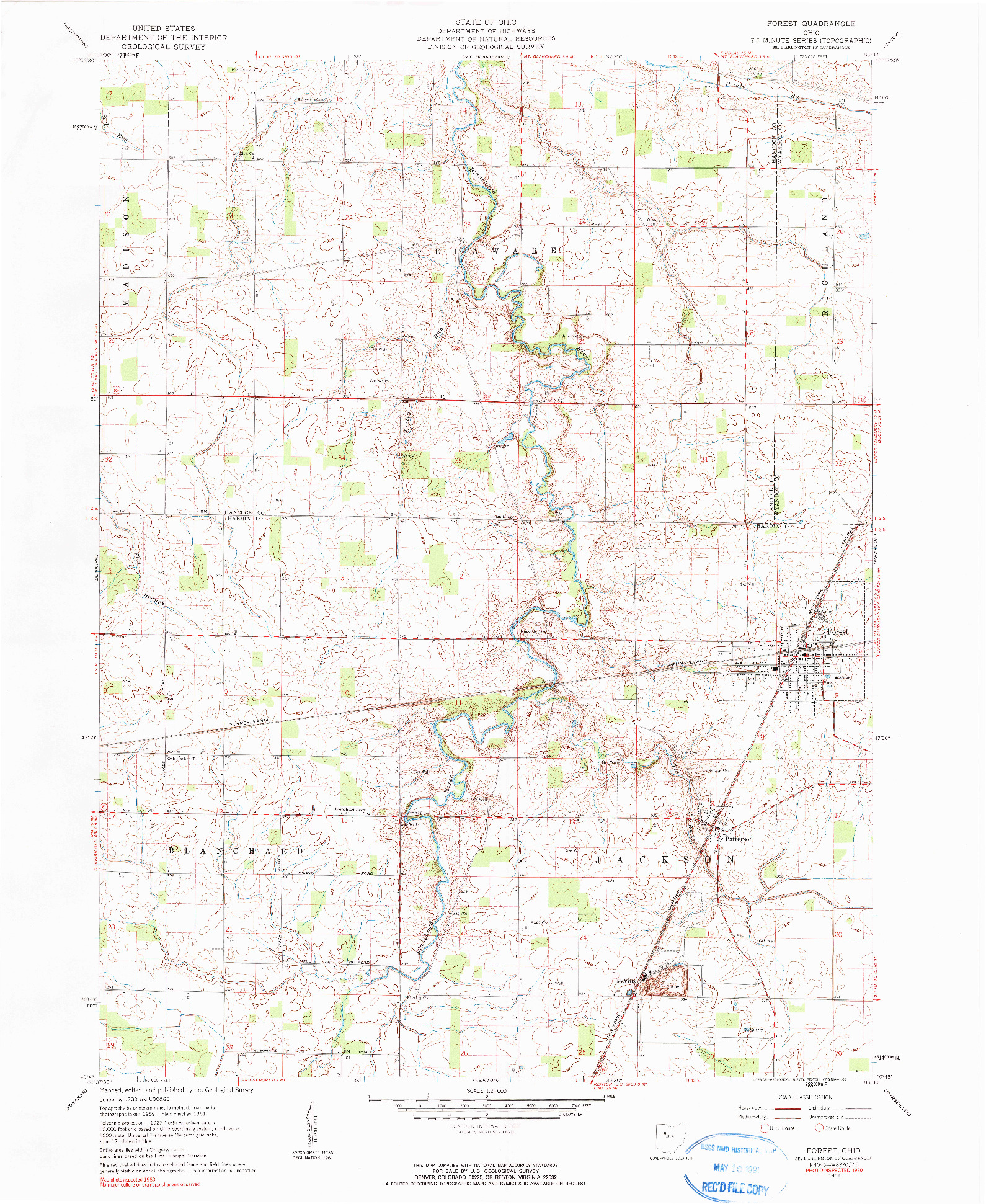USGS 1:24000-SCALE QUADRANGLE FOR FOREST, OH 1961