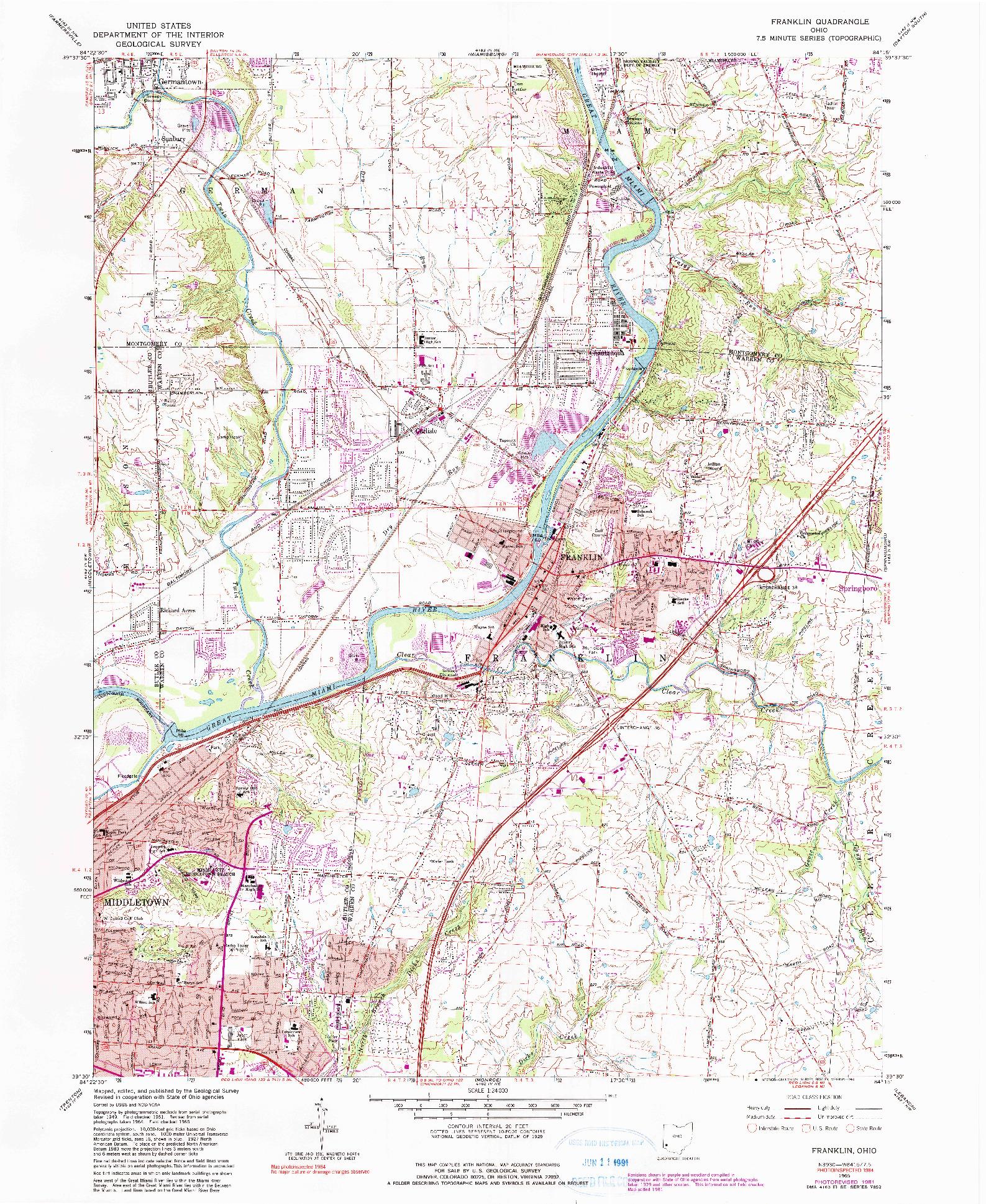 USGS 1:24000-SCALE QUADRANGLE FOR FRANKLIN, OH 1965