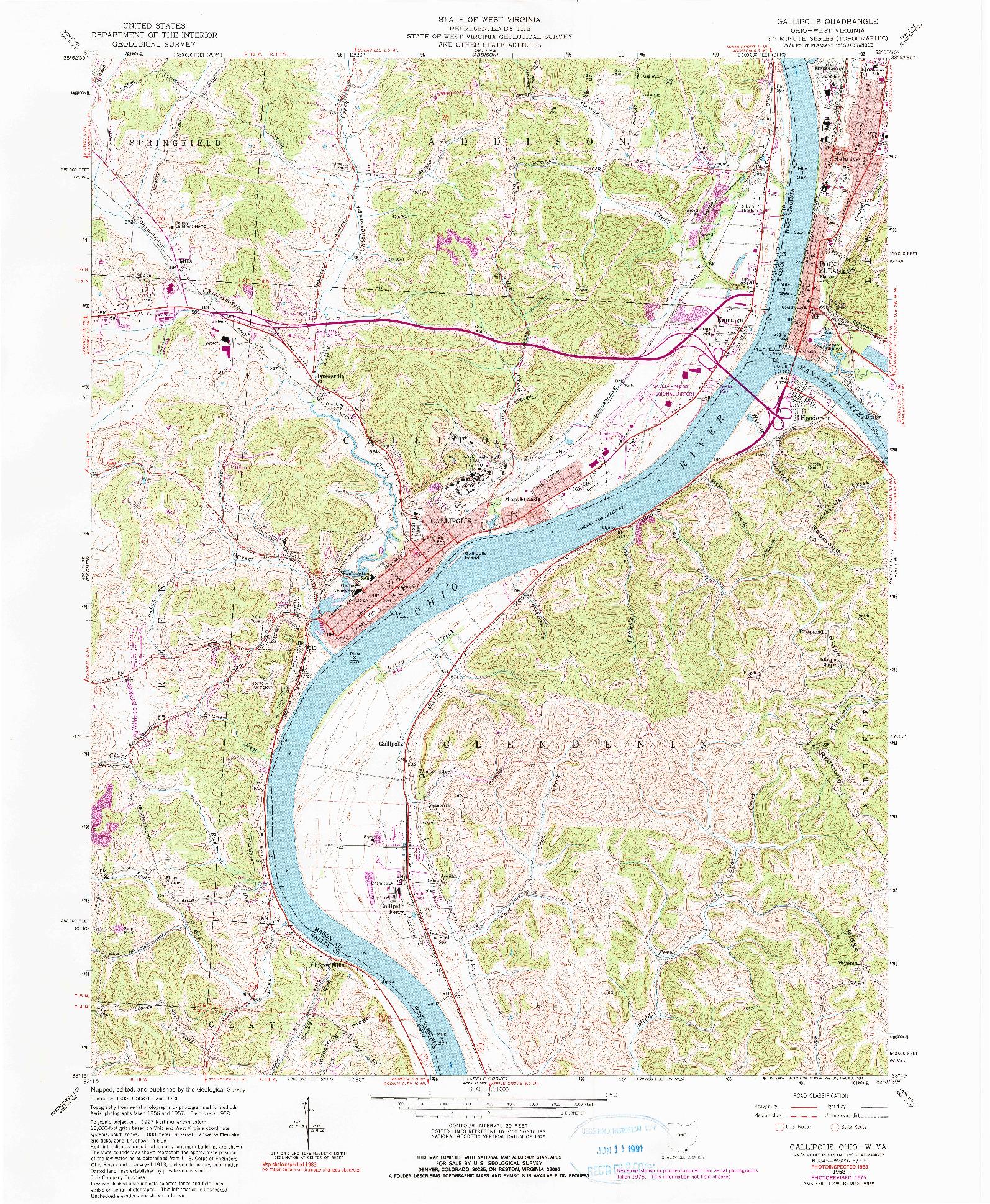 USGS 1:24000-SCALE QUADRANGLE FOR GALLIPOLIS, OH 1958